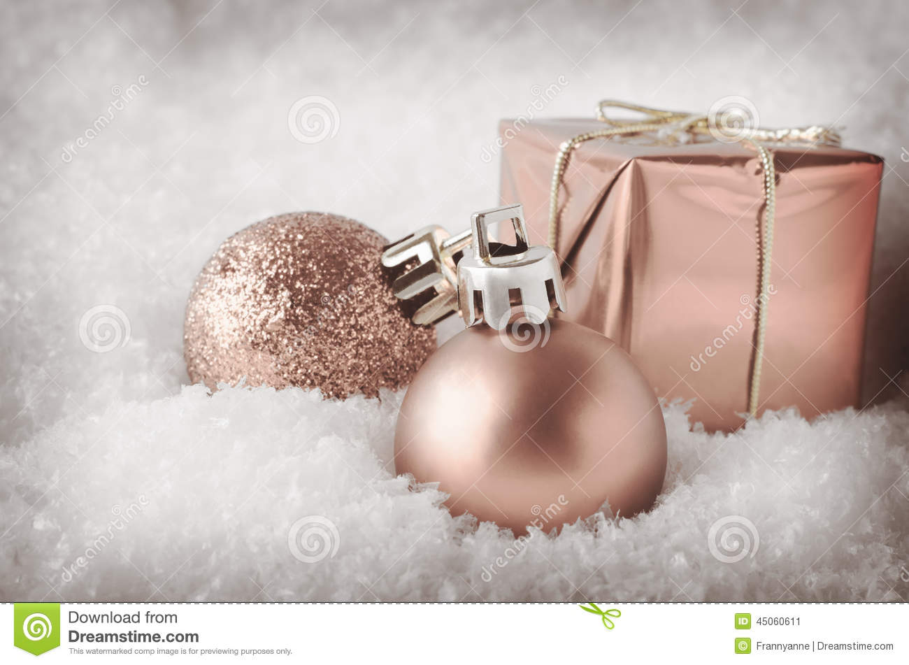 Pale Pink Christmas Decorations In Snow Stock Photo ...