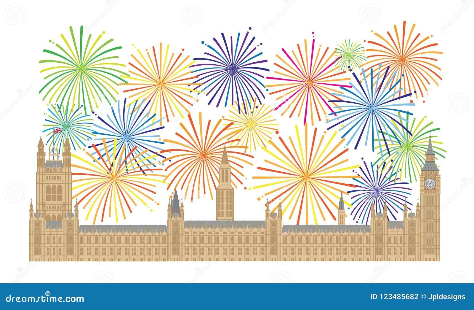 Paleis van Westminster en Vuurwerk vectorillustratie