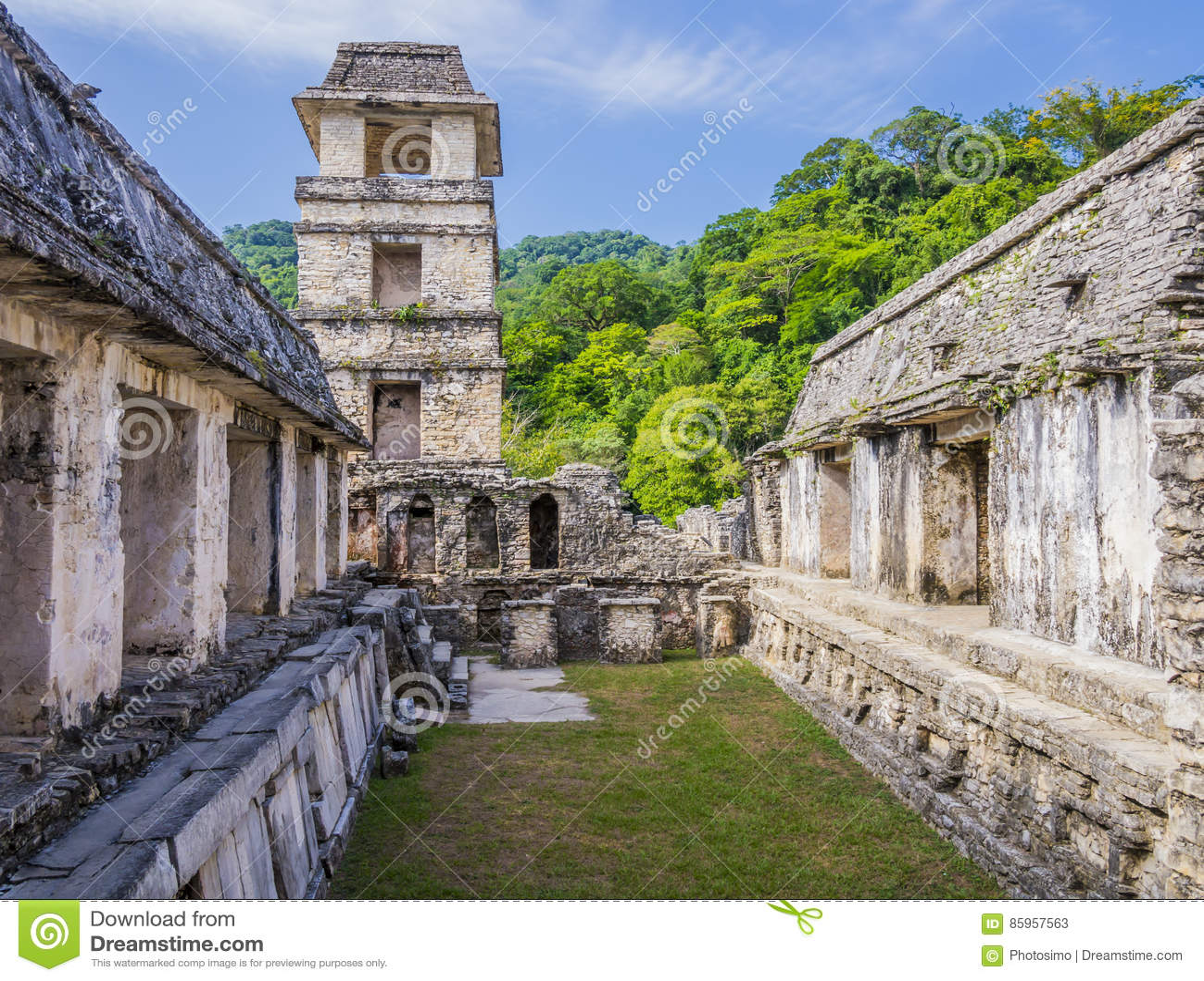 Palenque fördärvar, slotten och observationstornet, Chiapas, Mexico