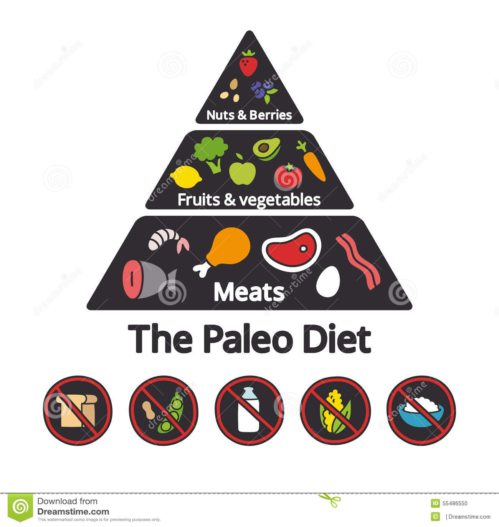 Paleo Food Pyramid Stock Illustration - Image: 55486550