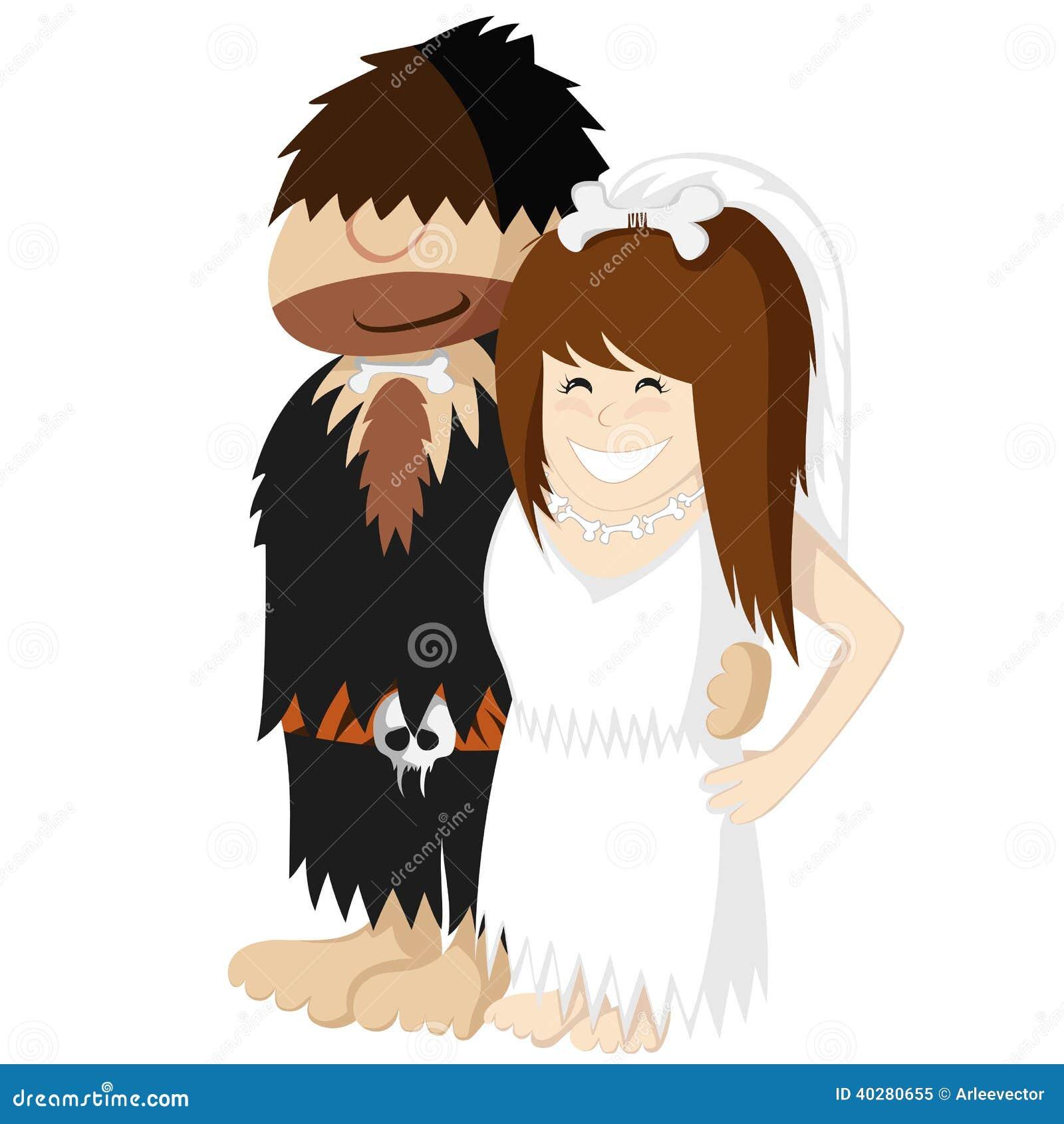 Caveman Hair Pulling : Paleo wedding stock vector image