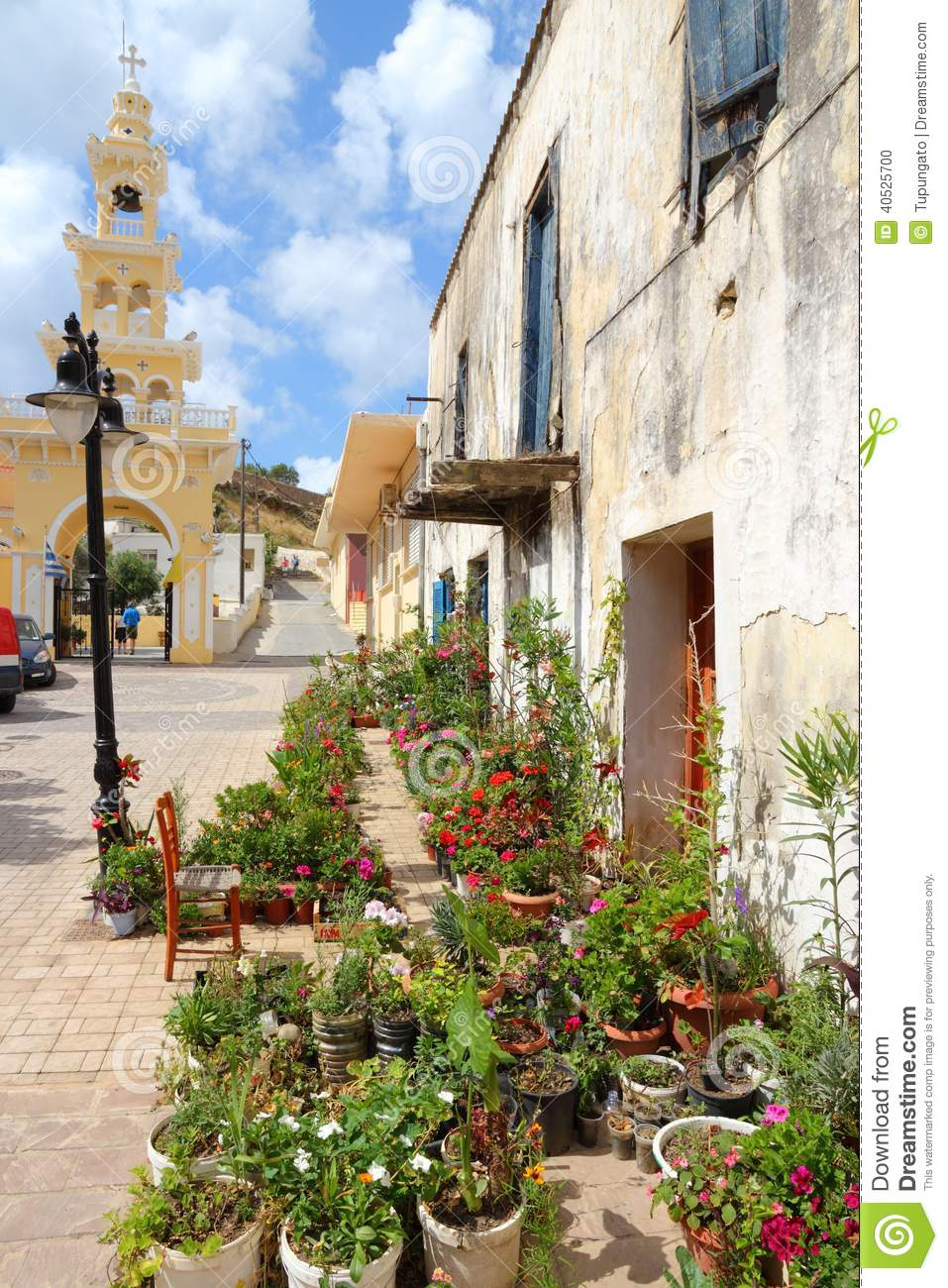 Chania, town on Crete island in Greece. Flowers in old town of ...