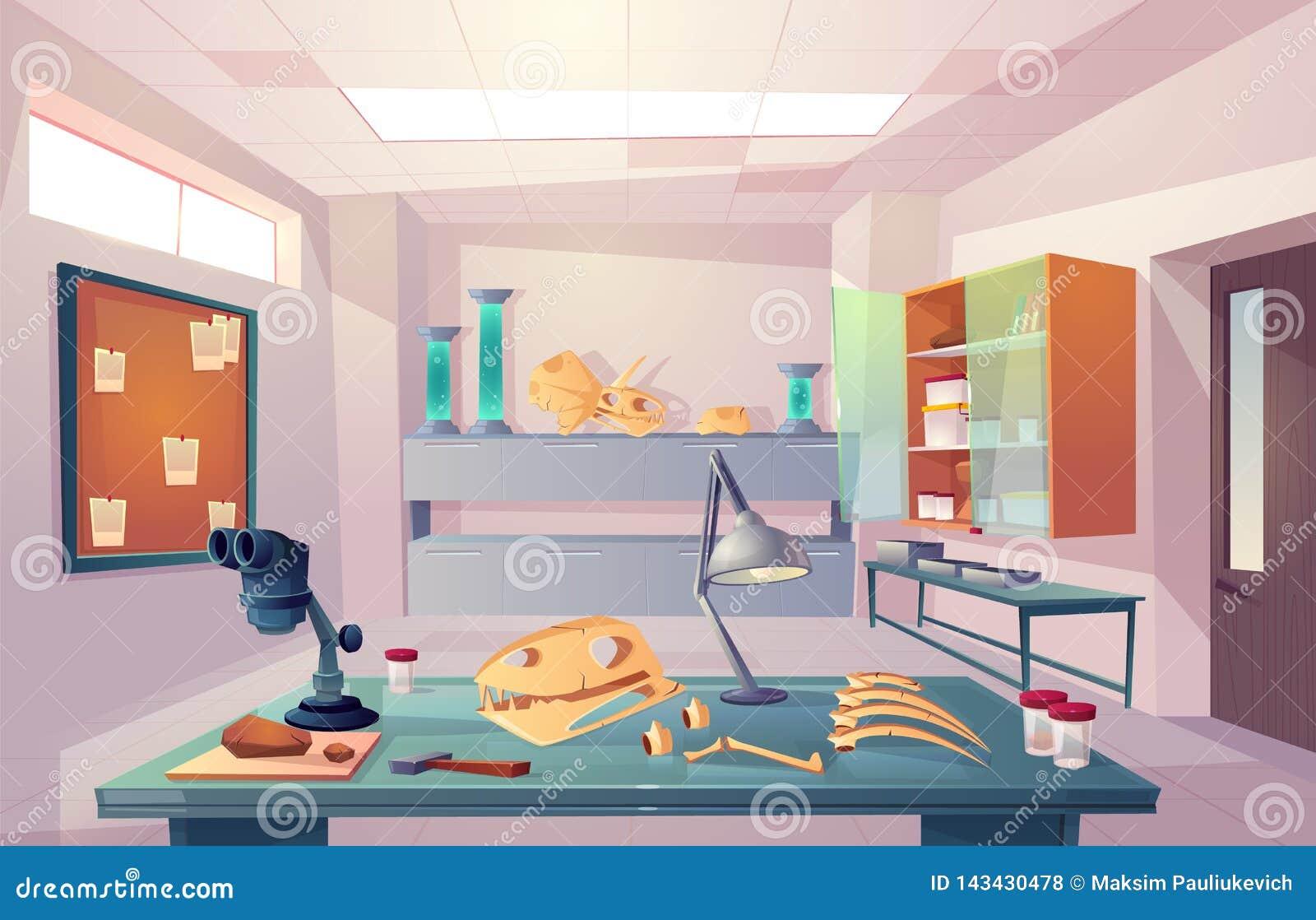 Paleontologia, uniwersyteckiej genetyki kreskówki laborancki wektor