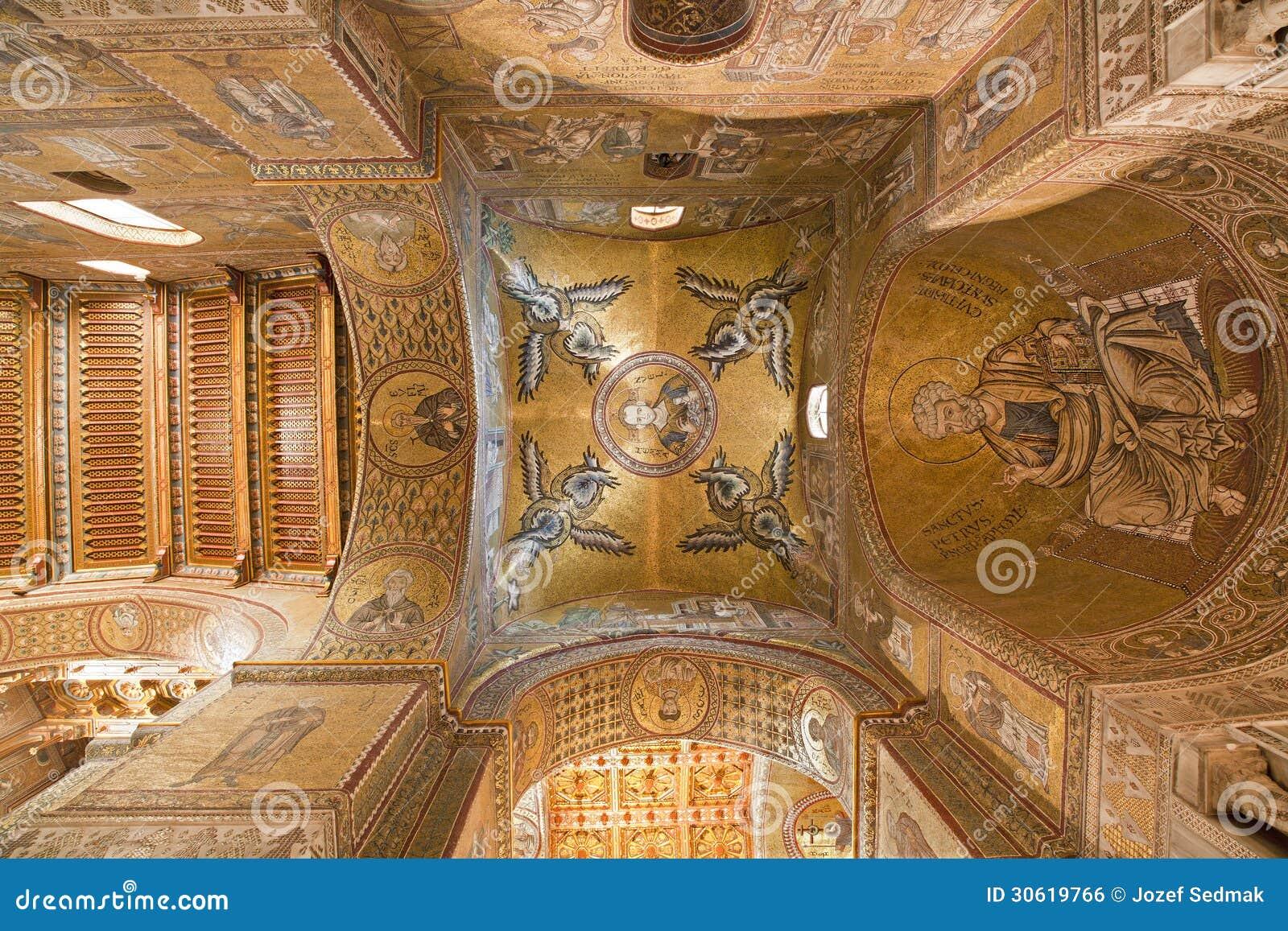 Palermo cupola e soffitto della navata laterale della for Soffitto della cattedrale di legno