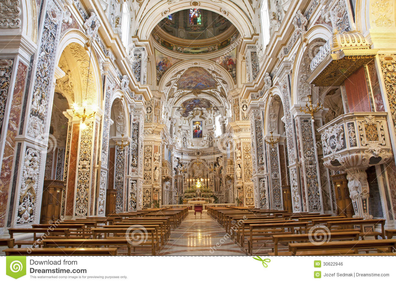 Palermo interior of church la chiesa del gesu stock for Baroque style church