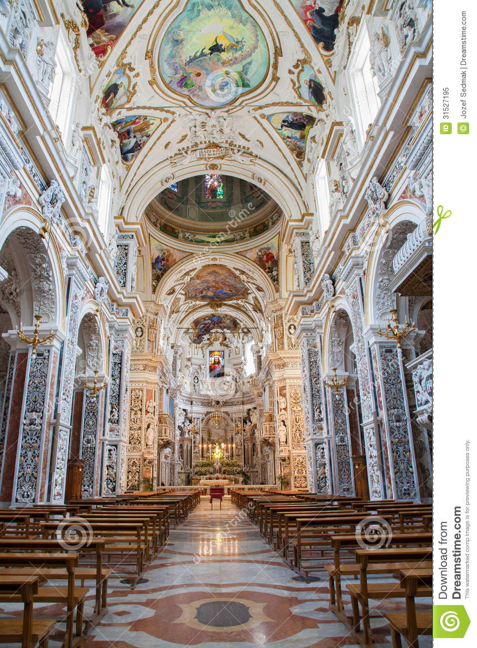 Palermo Interior Of Church La Chiesa Del Gesu Royalty Free Stock