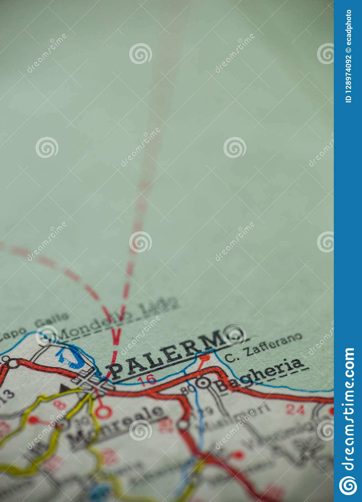 Palermo Italy Map Stock Photo Image Of Point Vintage 128974092