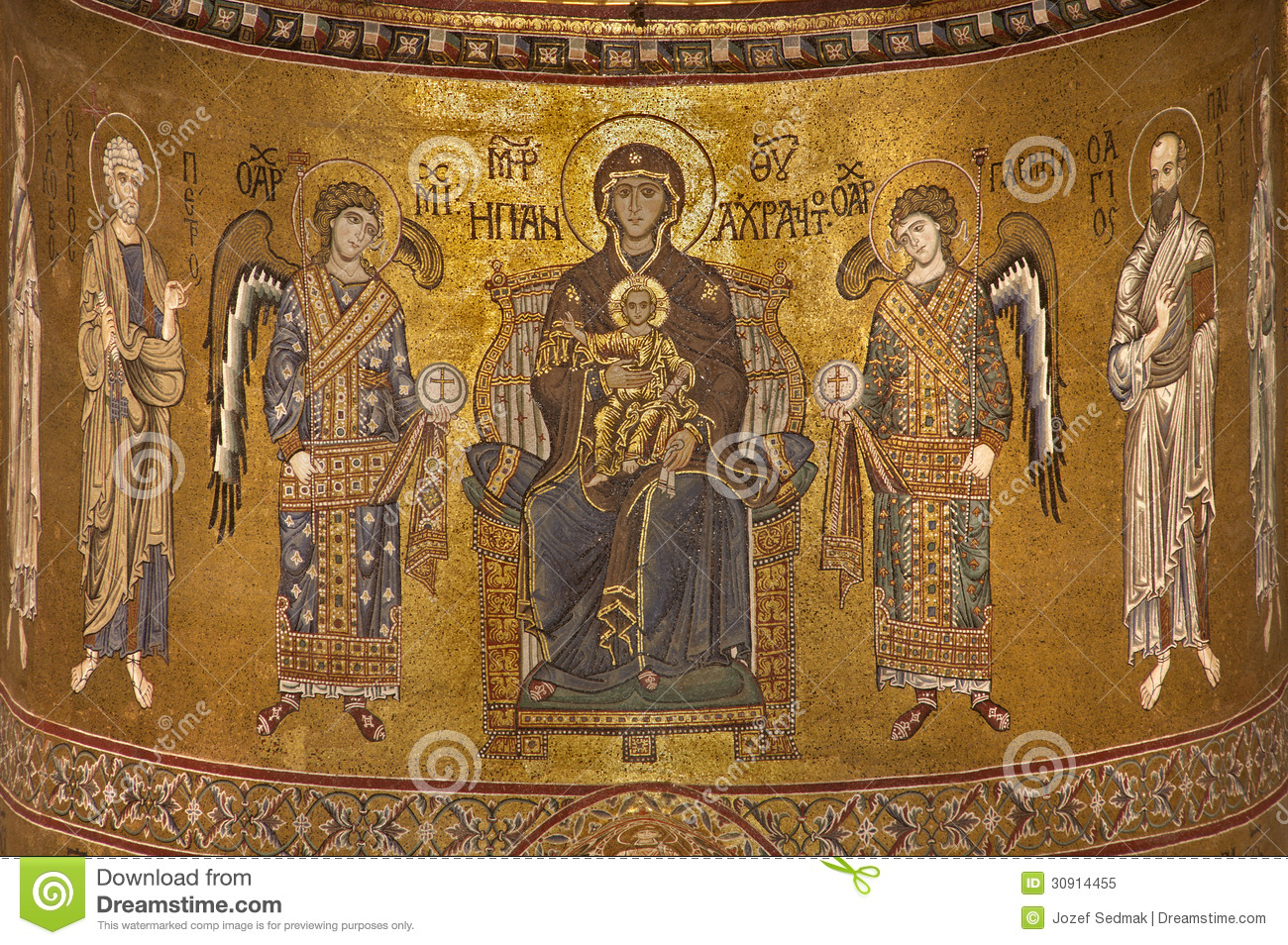 palermo madonna and angels from main apse of monreale cathedral