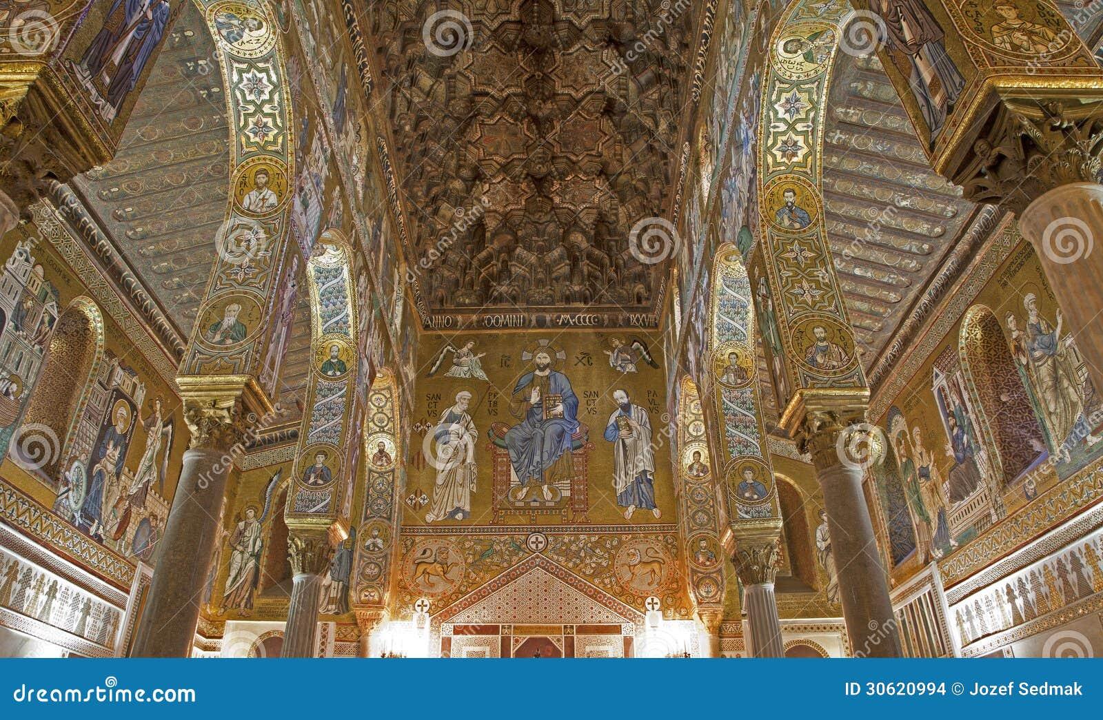 Palermo - mosaico de Cappella Palatina - la capilla de Palatine