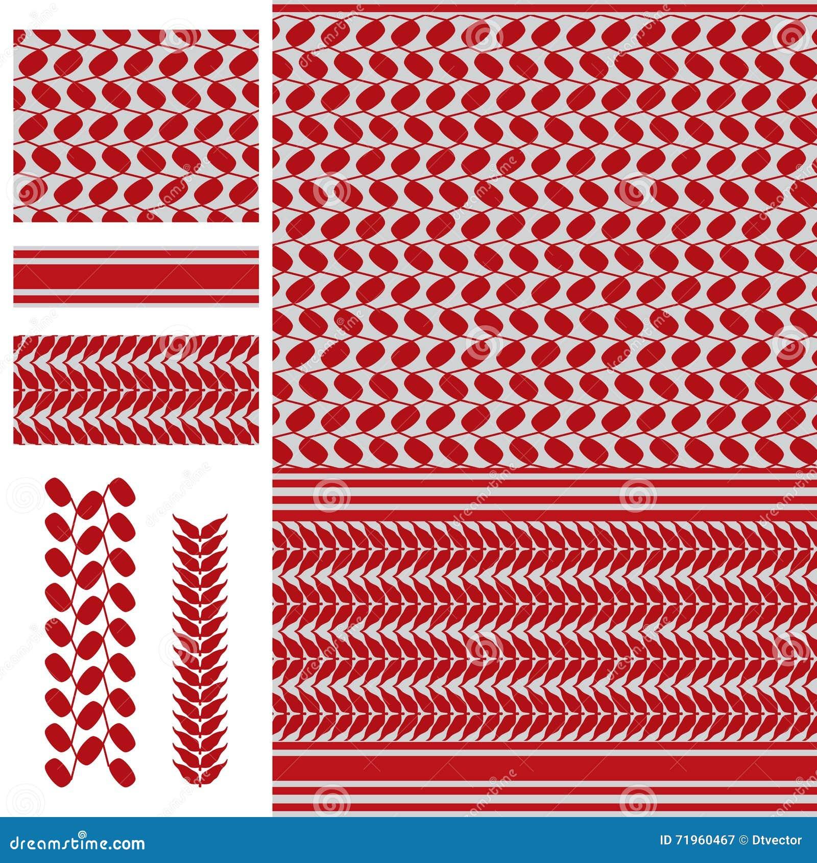 Palestine Keffieh Red White Seamless Pattern Stock Vector