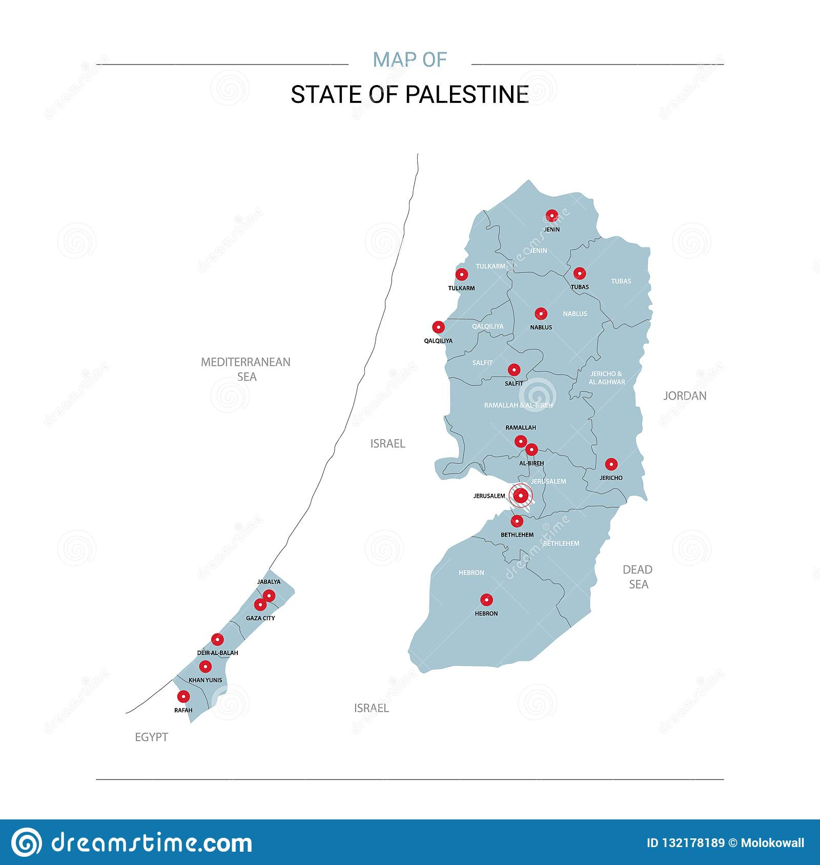 Image of: Palestine Map Vector With Red Pin Stock Vector Illustration Of Cartography Location 132178189