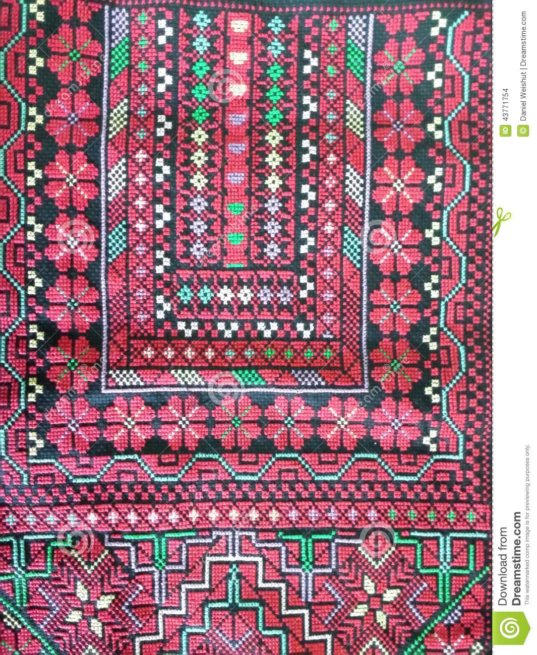 Palestinian Embroidered Wall Hanging Red Stock Photo