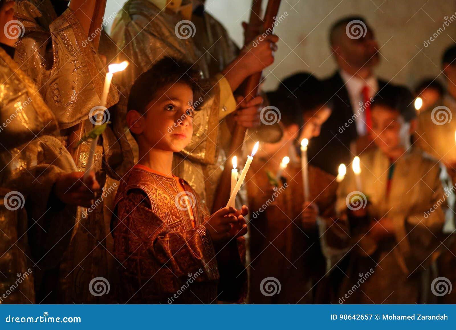Palestinska kristen på kyrkan för St Porphyrius i Gaza