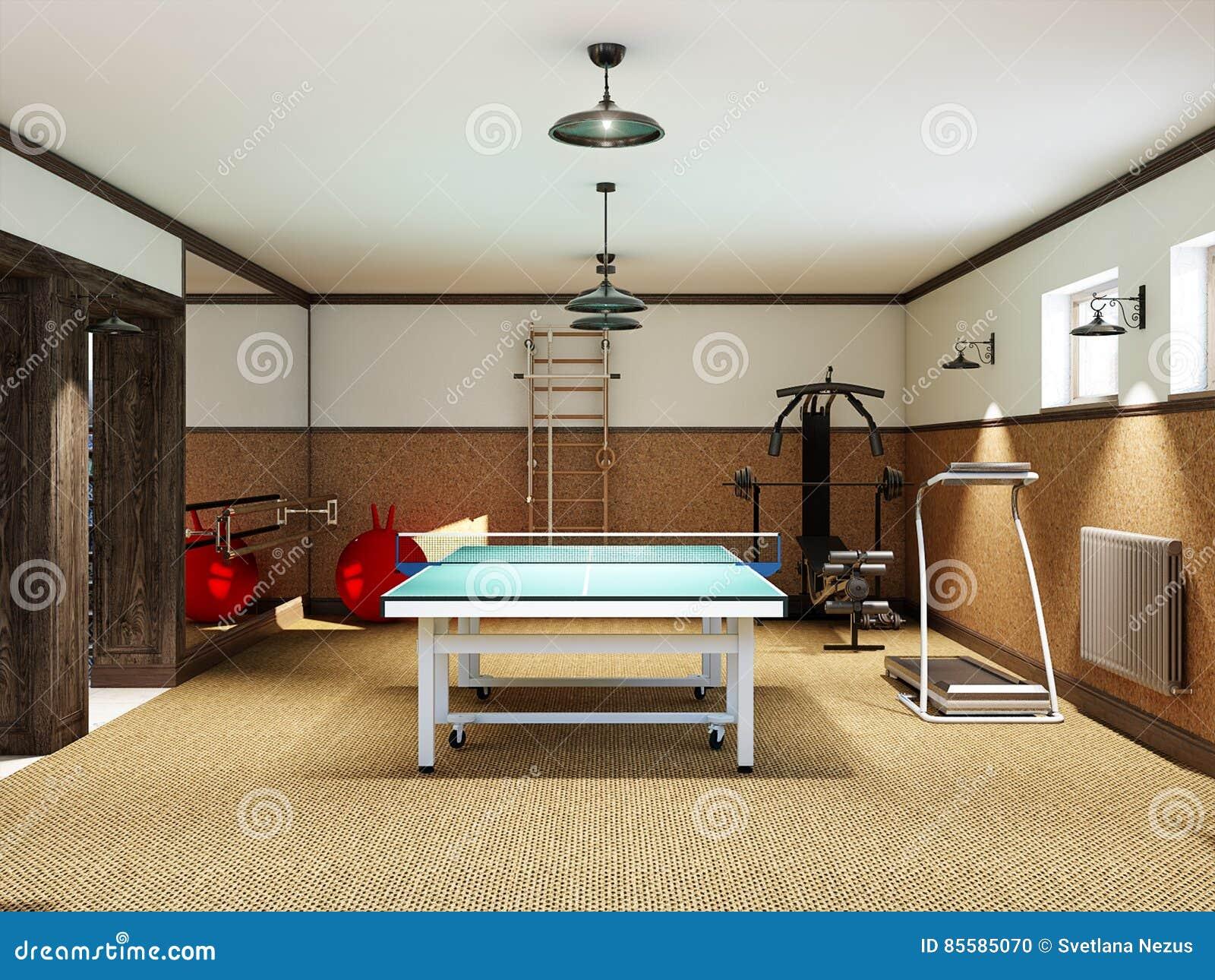 Palestra Domestica Nel Seminterrato Con Ping-pong Dell ...