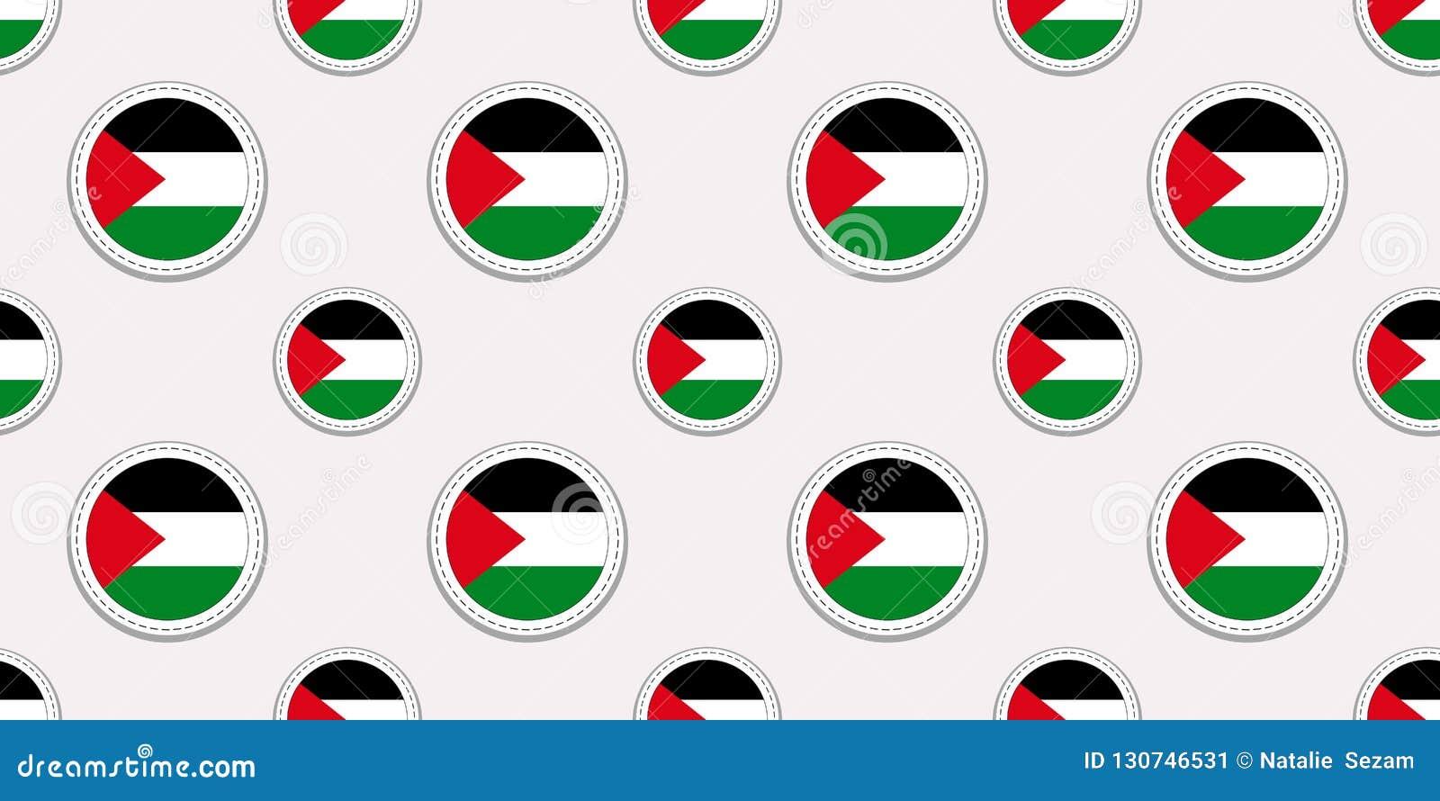 Palestyna round flagi bezszwowy wzór Palestyński tło Wektorowe okrąg ikony Geometryczni symbole patriotyczna tapeta