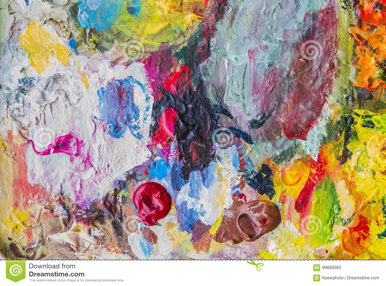 Paleta abstracta de la pintura acrílica de colorido, color de la mezcla, backgroun