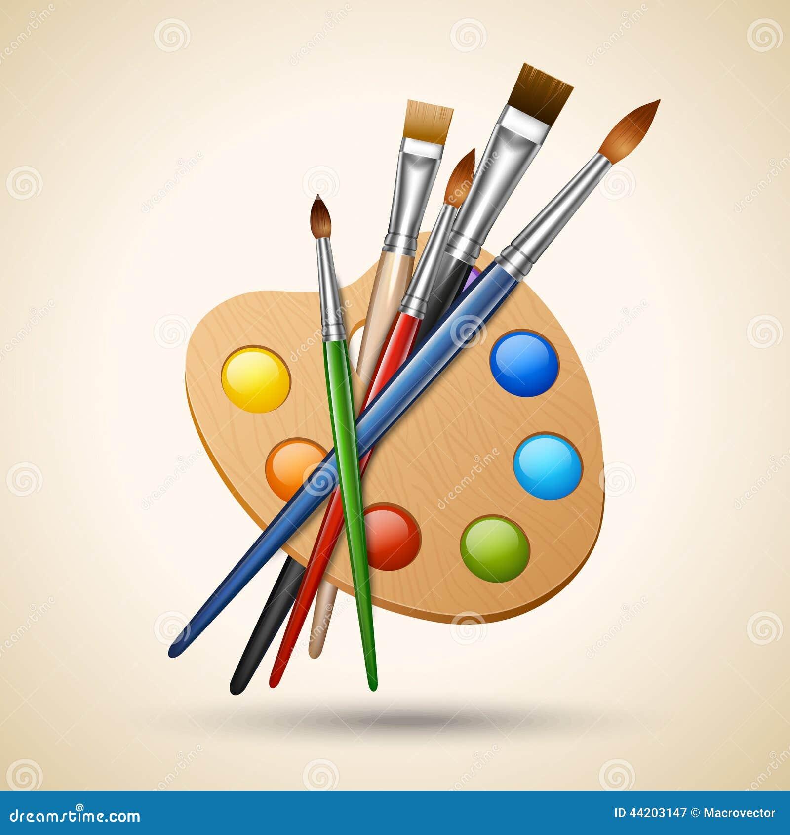 Paleta com escovas de pintura ilustra o do vetor imagem - Paleta de pinturas ...