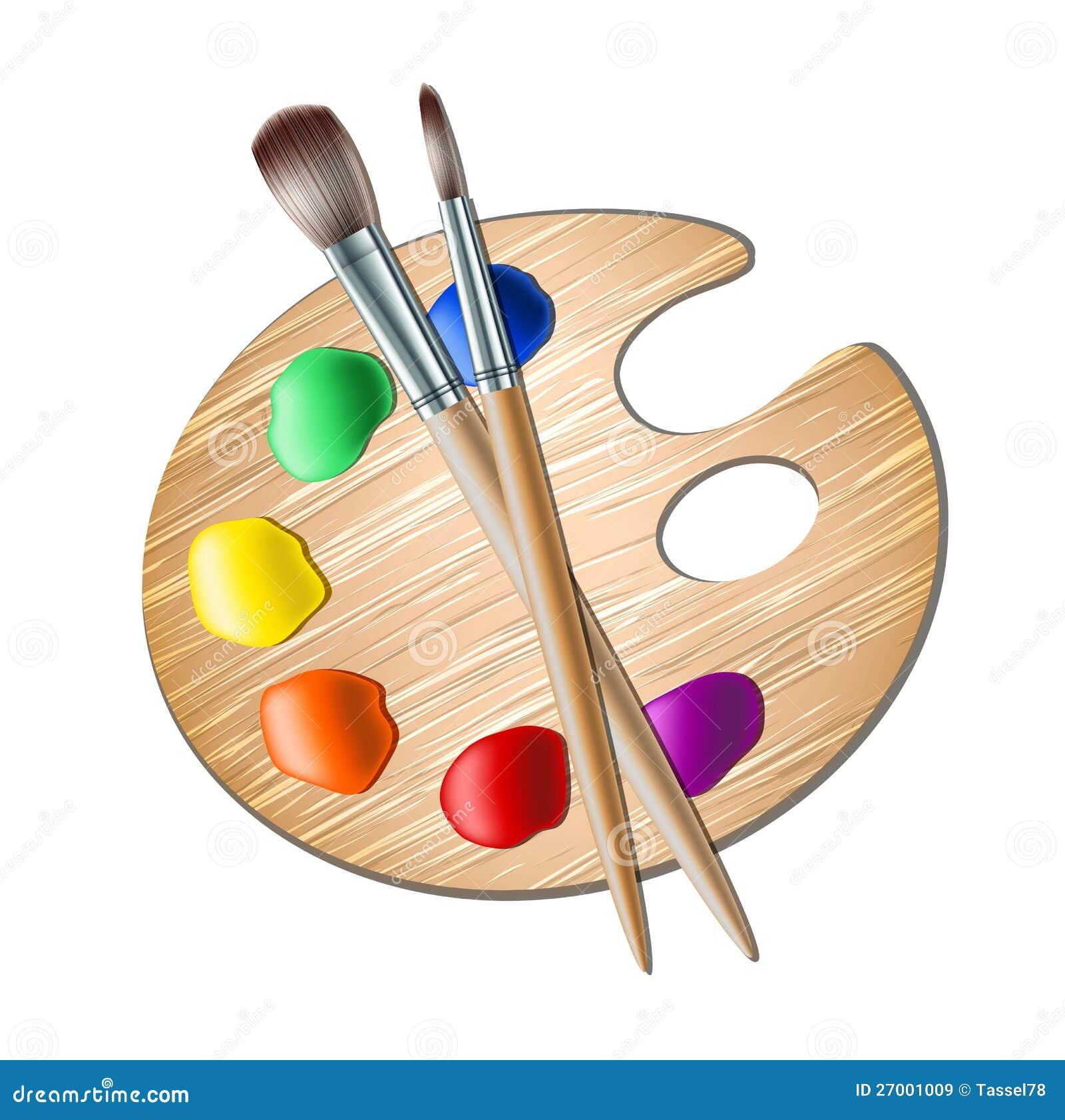 Paleta da arte com a escova de pintura para o desenho - Paleta de pinturas ...
