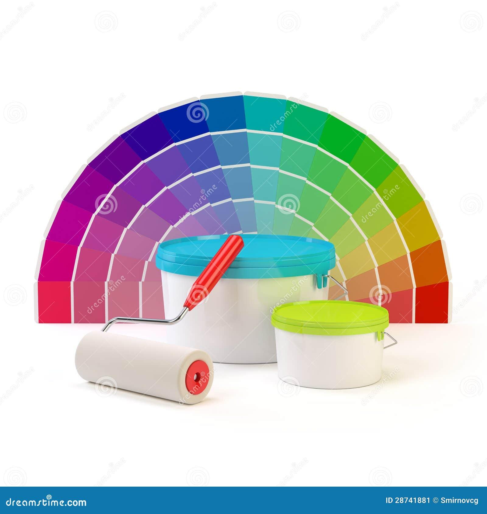 Paleta de colores de pantone rodillo de pintura y latas - Paleta de colores titanlux ...