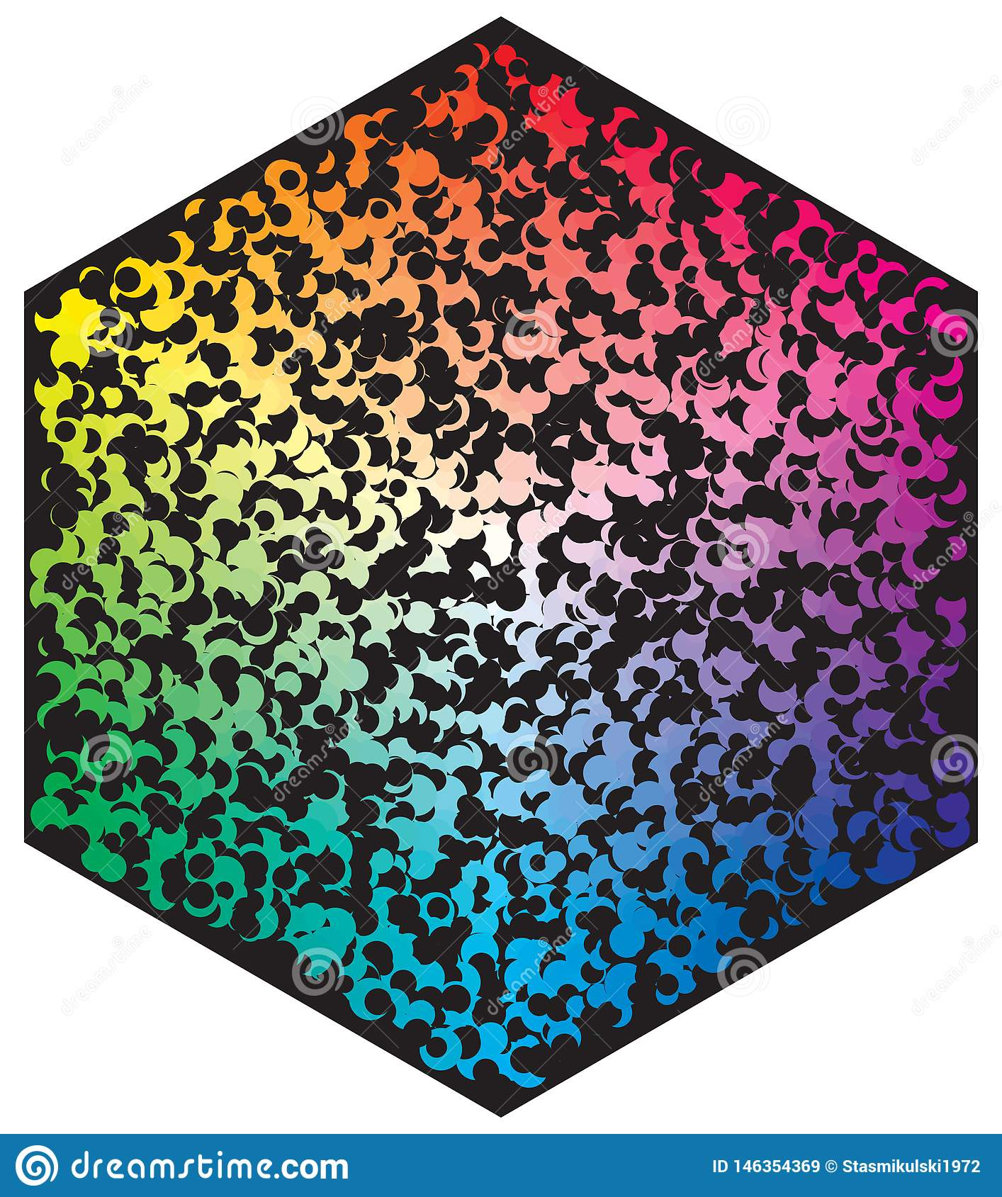 Paleta de colores del vector Muchos diversos c?rculos de color en la forma del modelo del hex?gono