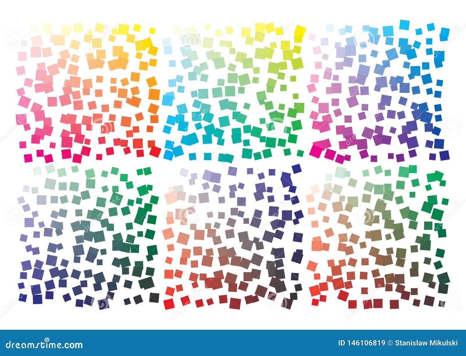 Paleta de cores do vetor no formato A4 Os detalhes dispersaram caoticamente