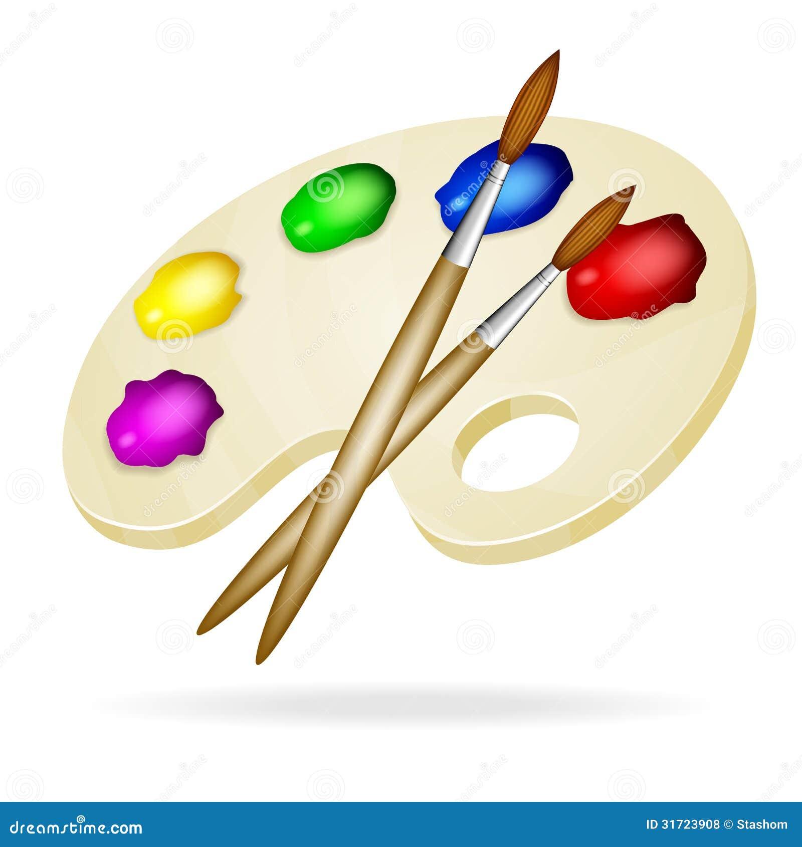 Paleta de madera con las pinturas y los cepillos vector - Paleta de pinturas ...