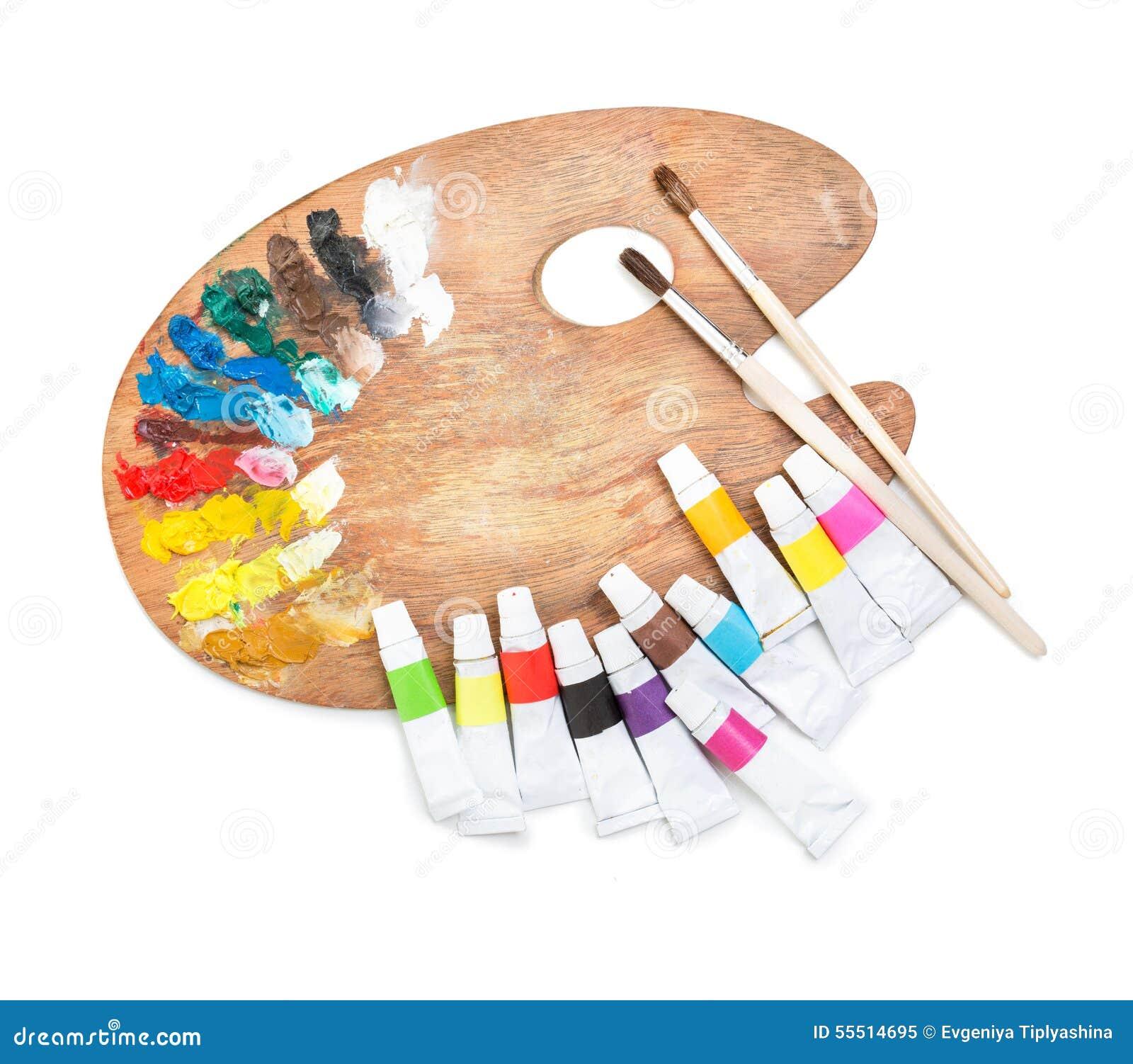 Palett med rör av målarfärg