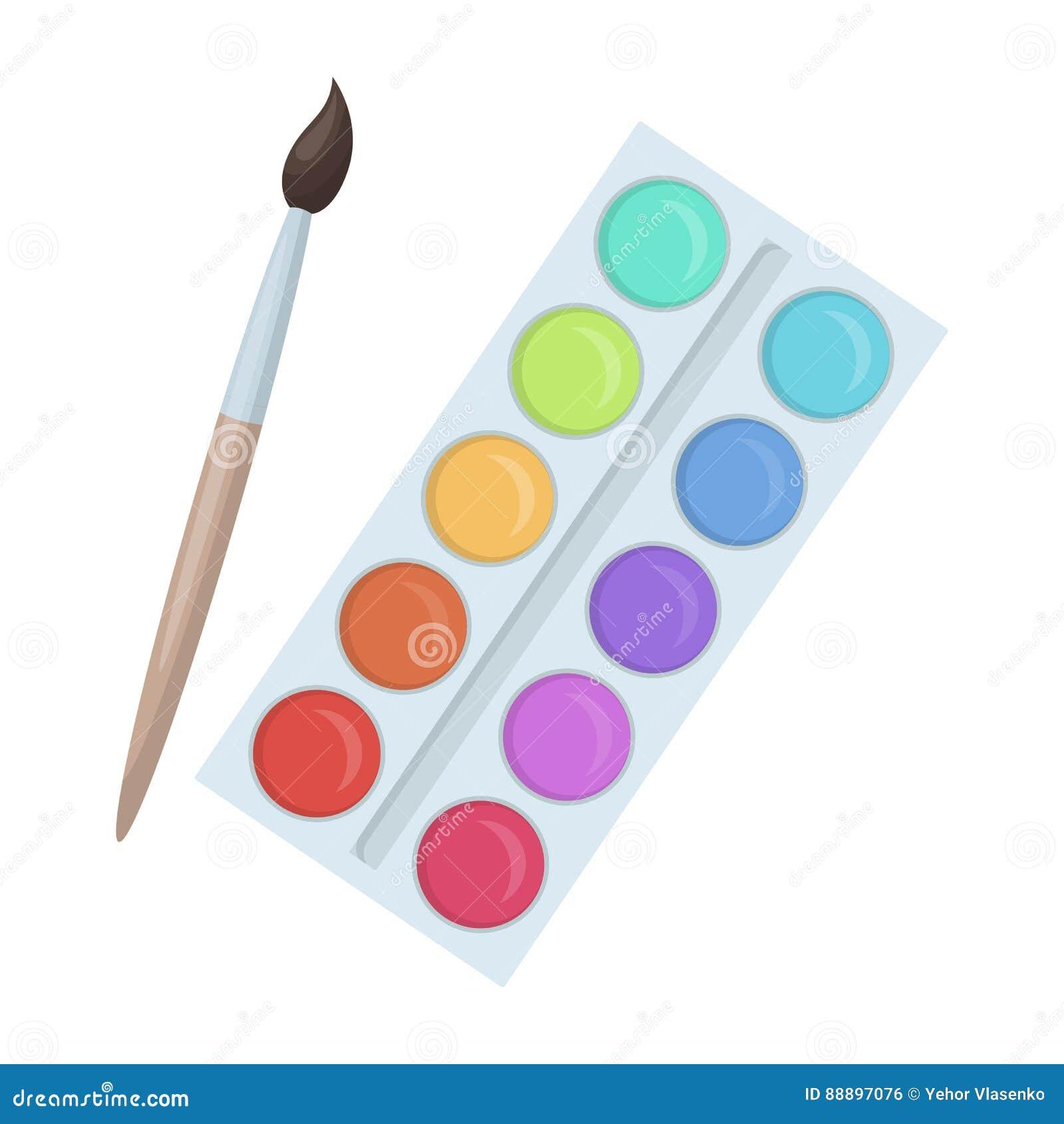 Palette avec les peintures et la brosse peinture l 39 cole for Peinture palette