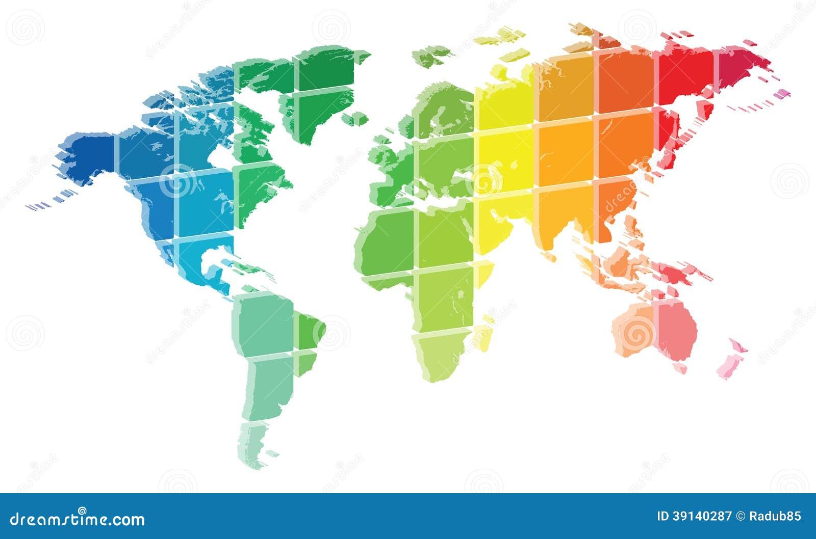Palette de couleurs de carte du monde 3d illustration de vecteur image 391 - Carte du monde en couleur ...