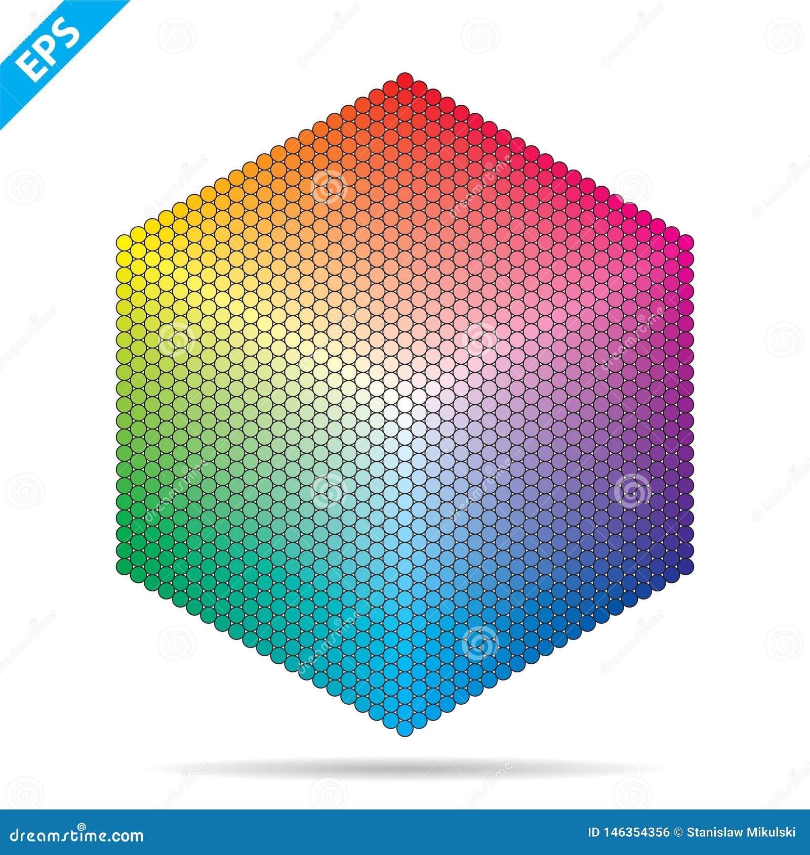 Palette de couleurs de vecteur 1261 couleurs différentes en petits cercles dans une forme d hexagone