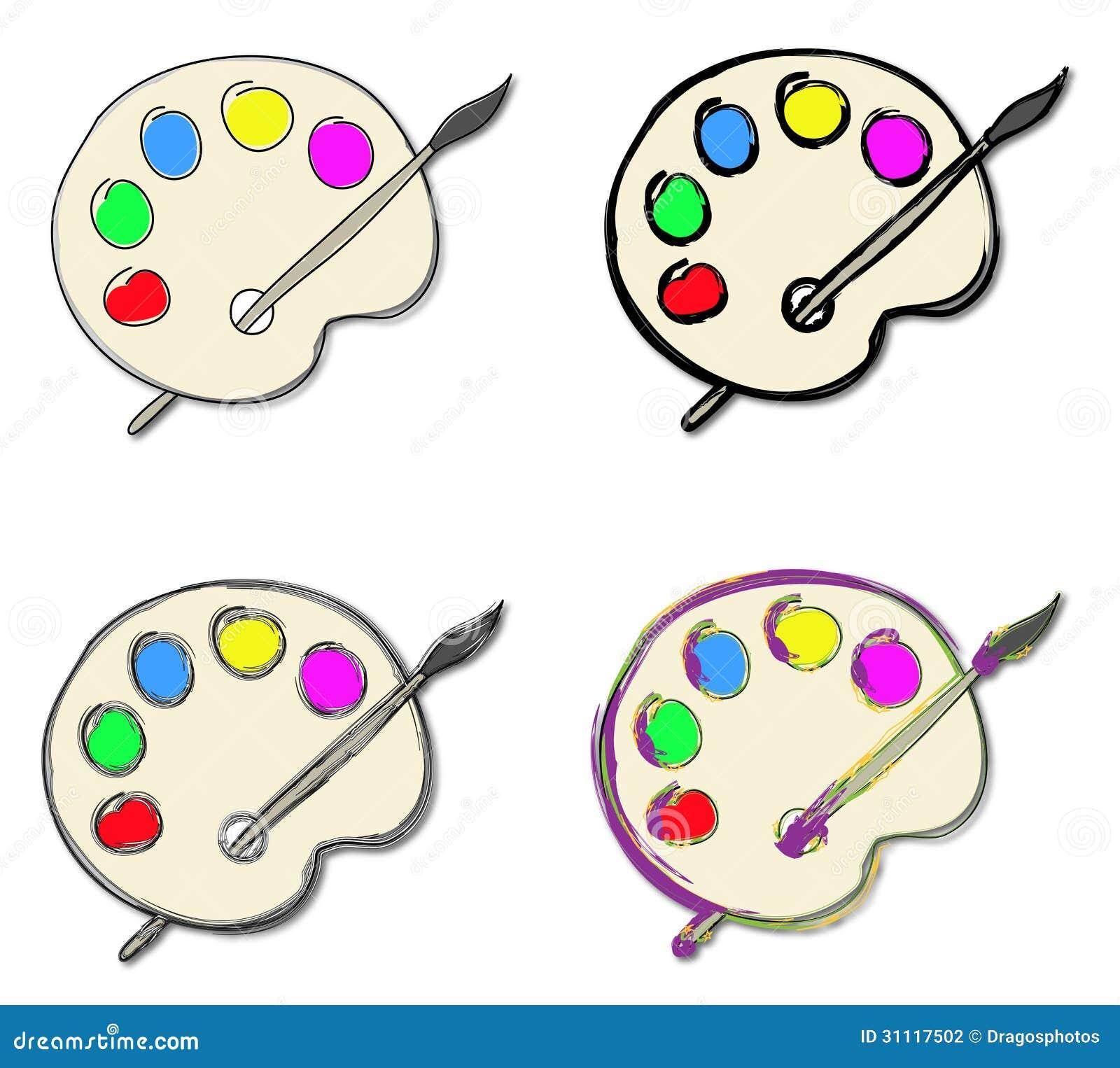 Tenue D Artiste Peintre palette de peinture d'artiste illustration de vecteur