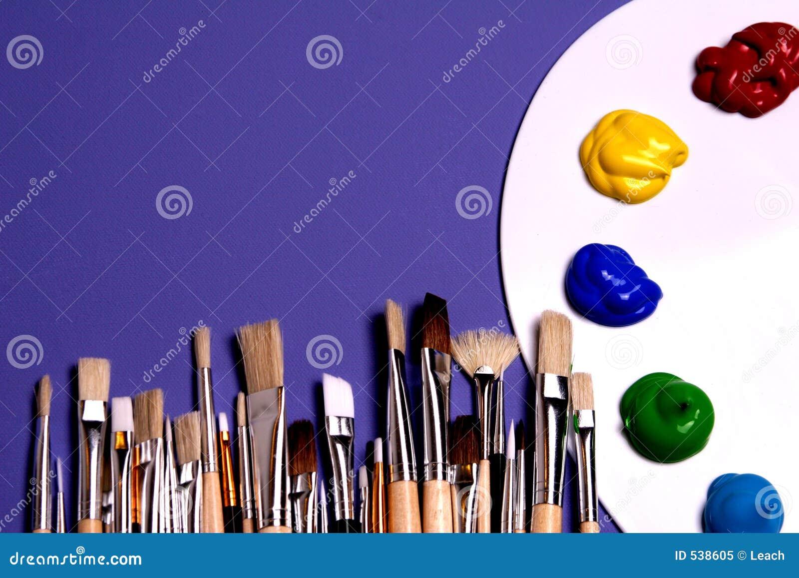 palette de peinture d 39 artiste avec des peintures et des balais symboliques de l 39 art image stock. Black Bedroom Furniture Sets. Home Design Ideas