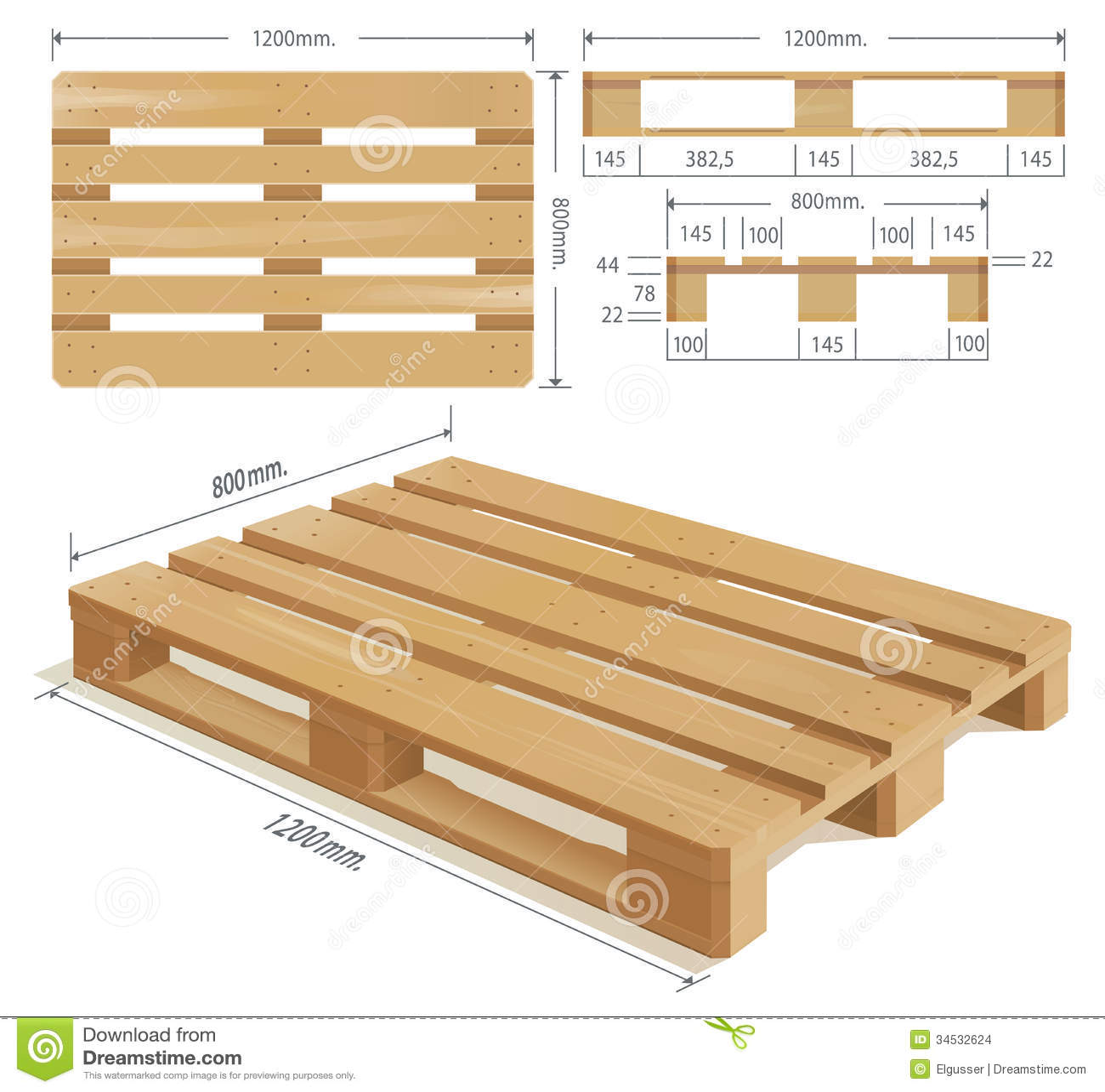 palette en bois illustration de vecteur illustration du palette 34532624. Black Bedroom Furniture Sets. Home Design Ideas