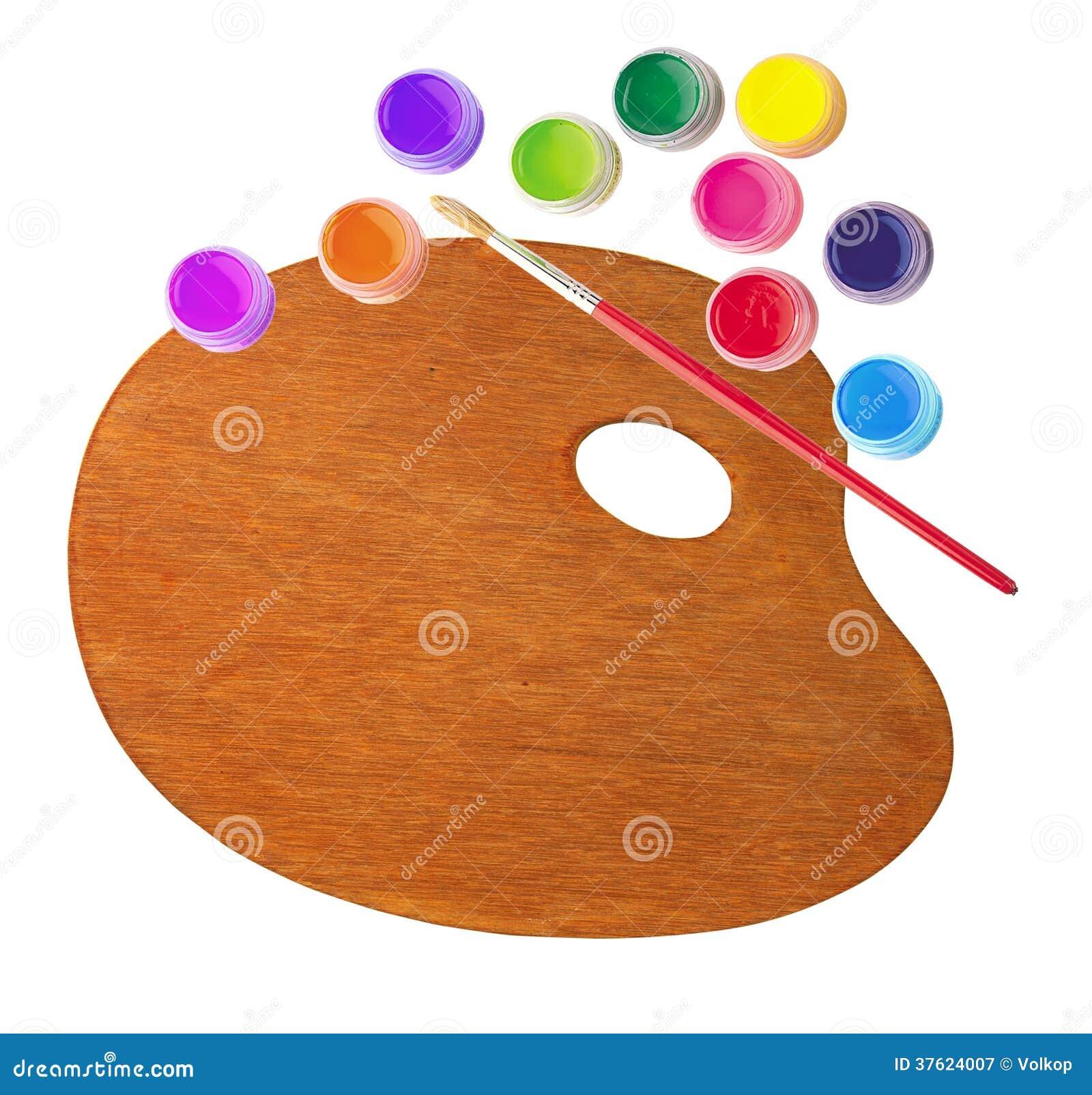 Palette en bois avec des peintures de couleur et brosse d for Peinture palette bois