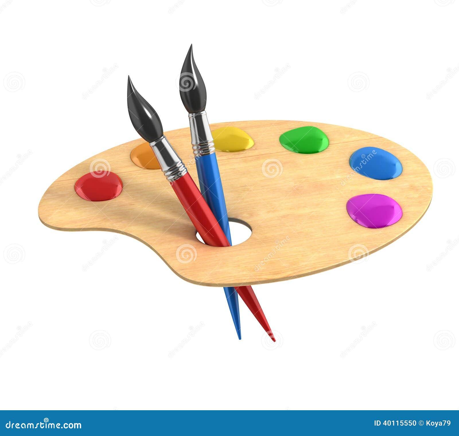 Palette en bois d 39 art avec des peintures et des brosses - Quelle peinture pour palette en bois ...