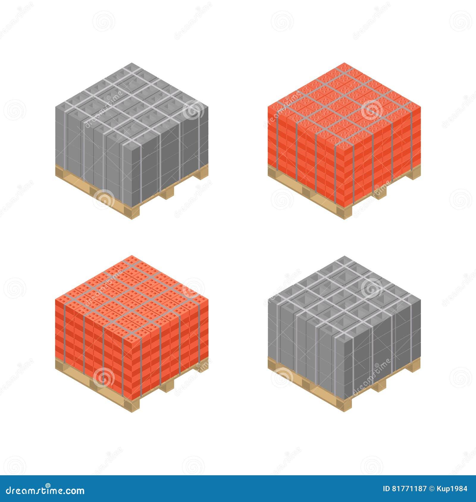 Fantastique Que Faire Avec Cube De Palette palette en bois isométrique avec des blocs de cendre et des briques