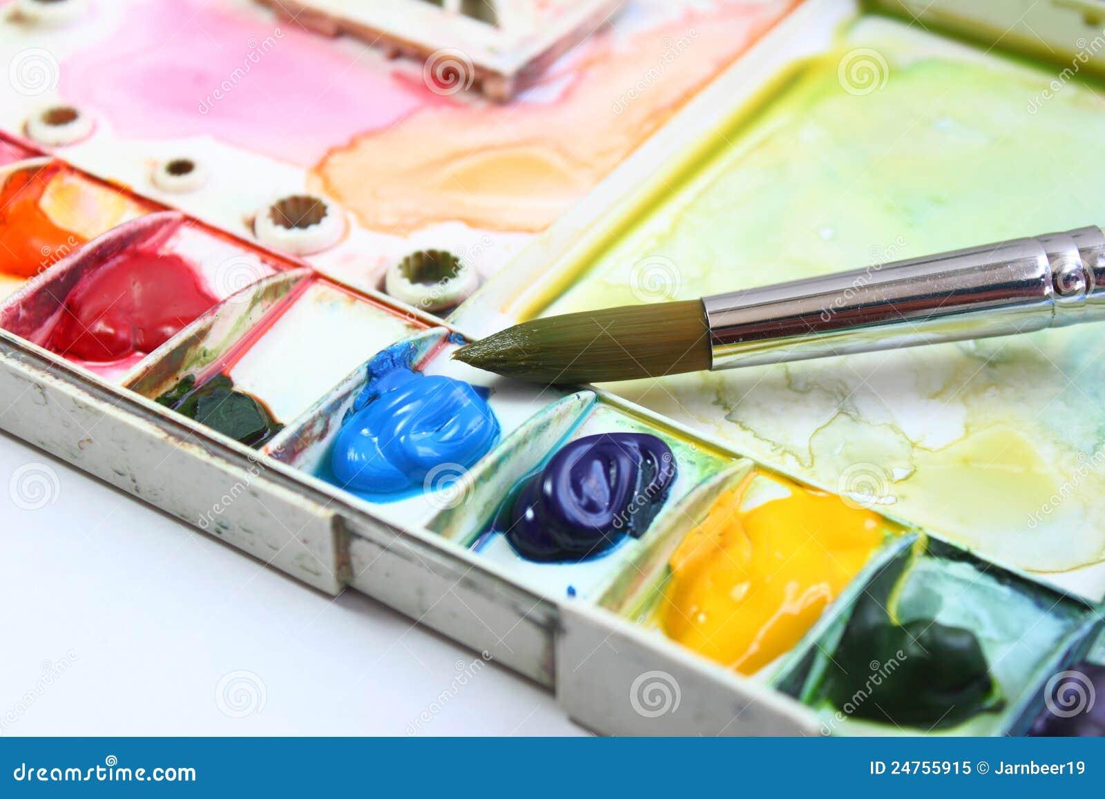 palette et pinceau d 39 aquarelle photo libre de droits image 24755915. Black Bedroom Furniture Sets. Home Design Ideas