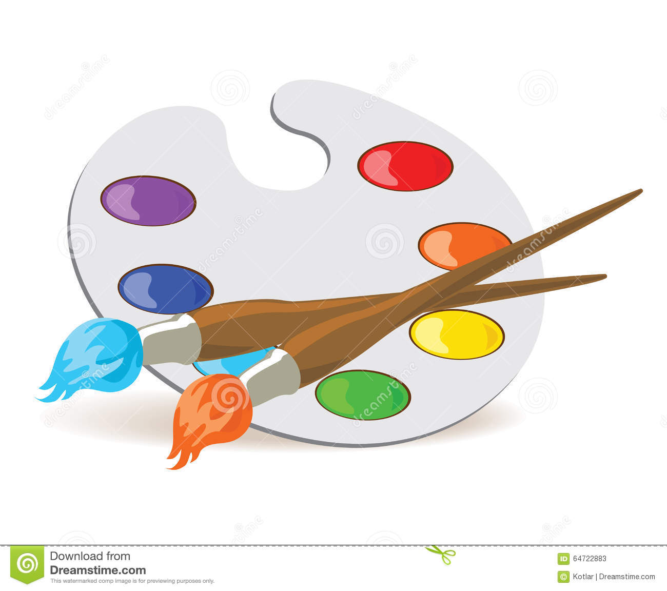 Palette et pinceaux illustration de vecteur illustration - Palette dessin ...