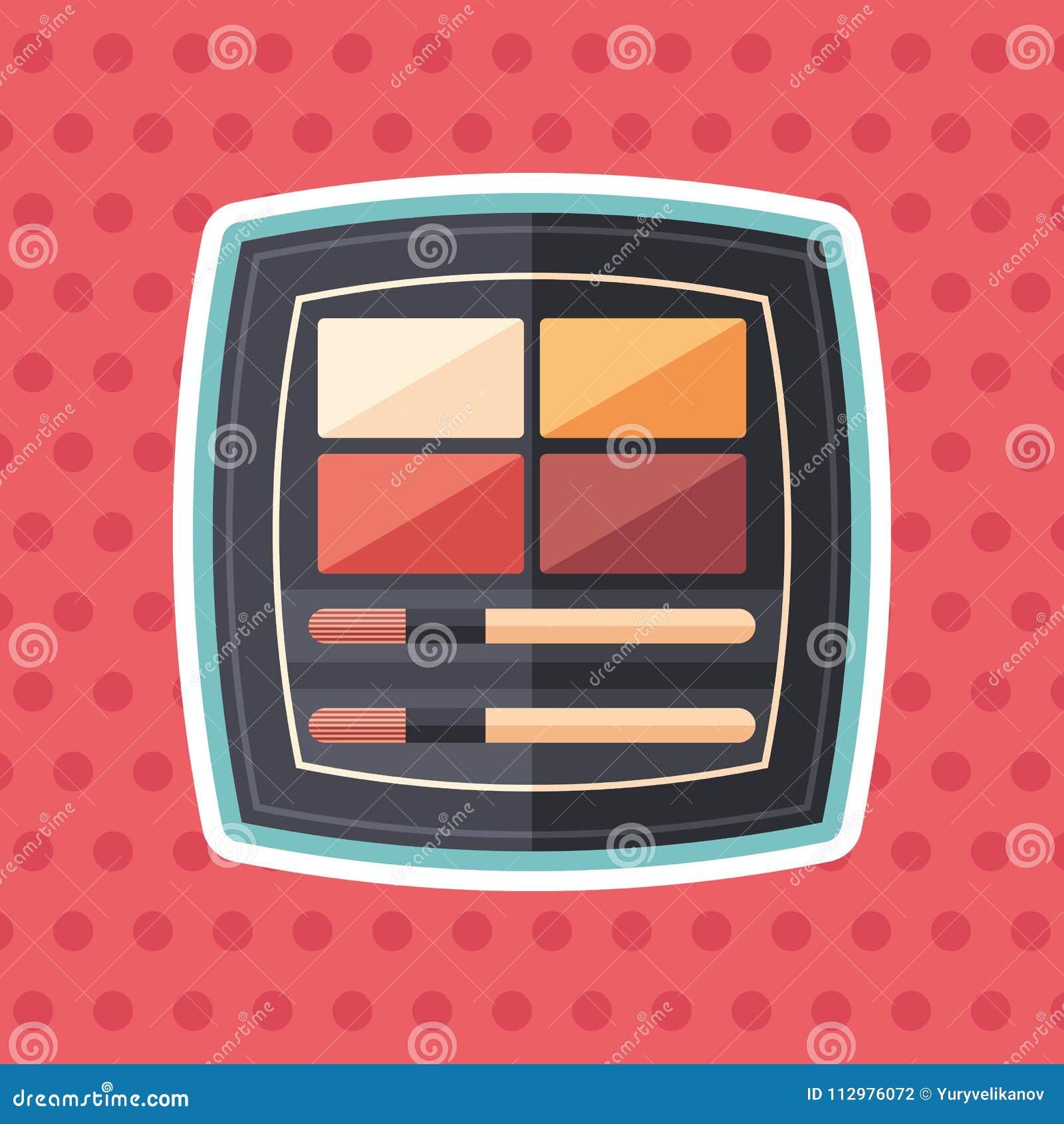 Palette liquid lipsticks sticker flat icon with color background.