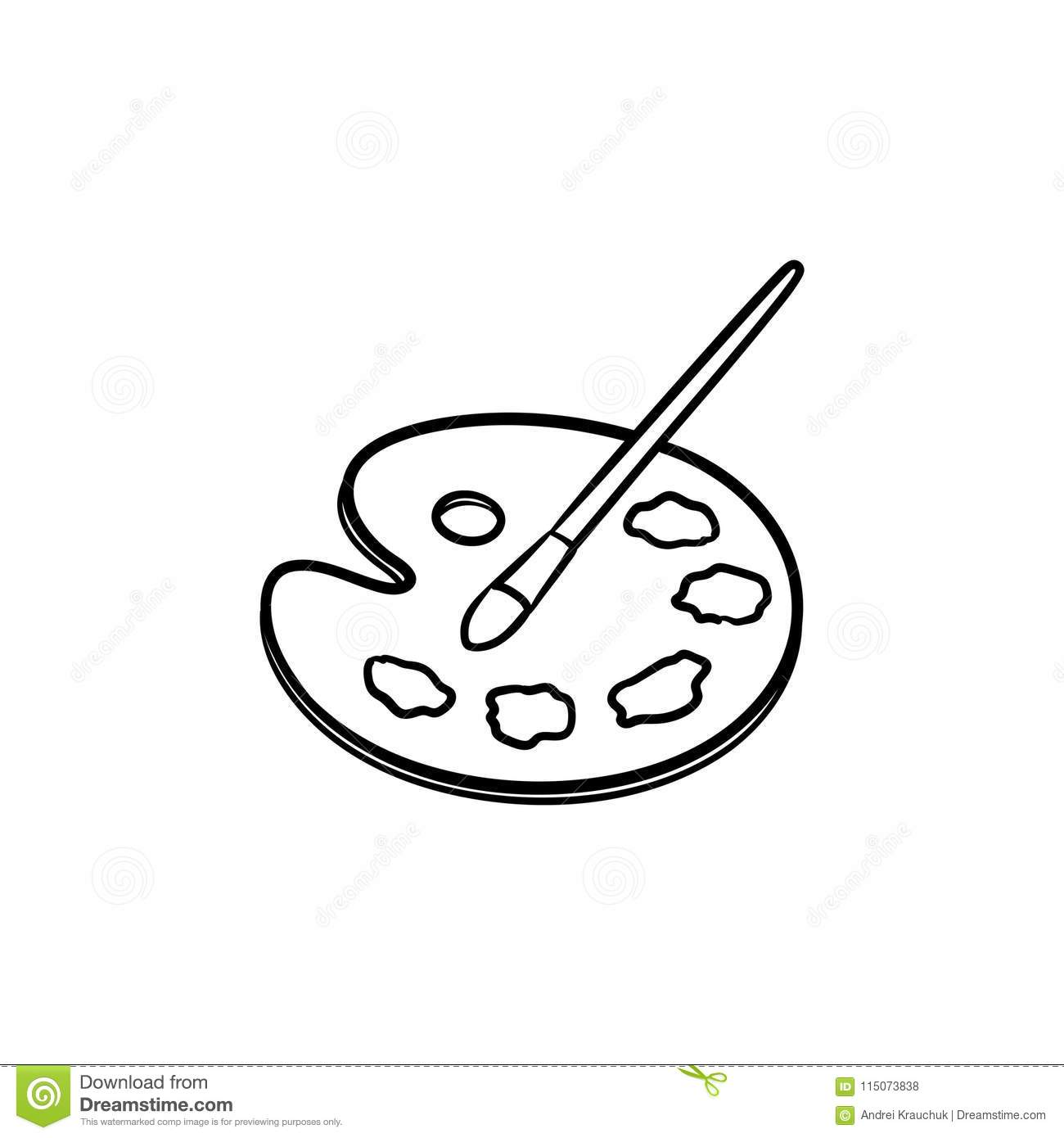 Palette With Paint Brush Hand Drawn Sketch Icon Stock