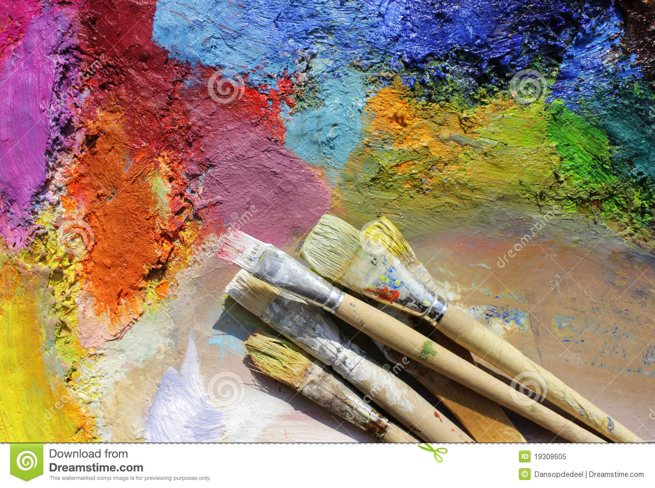Palette And Paint Brushes Royalty Free Stock Photo Image