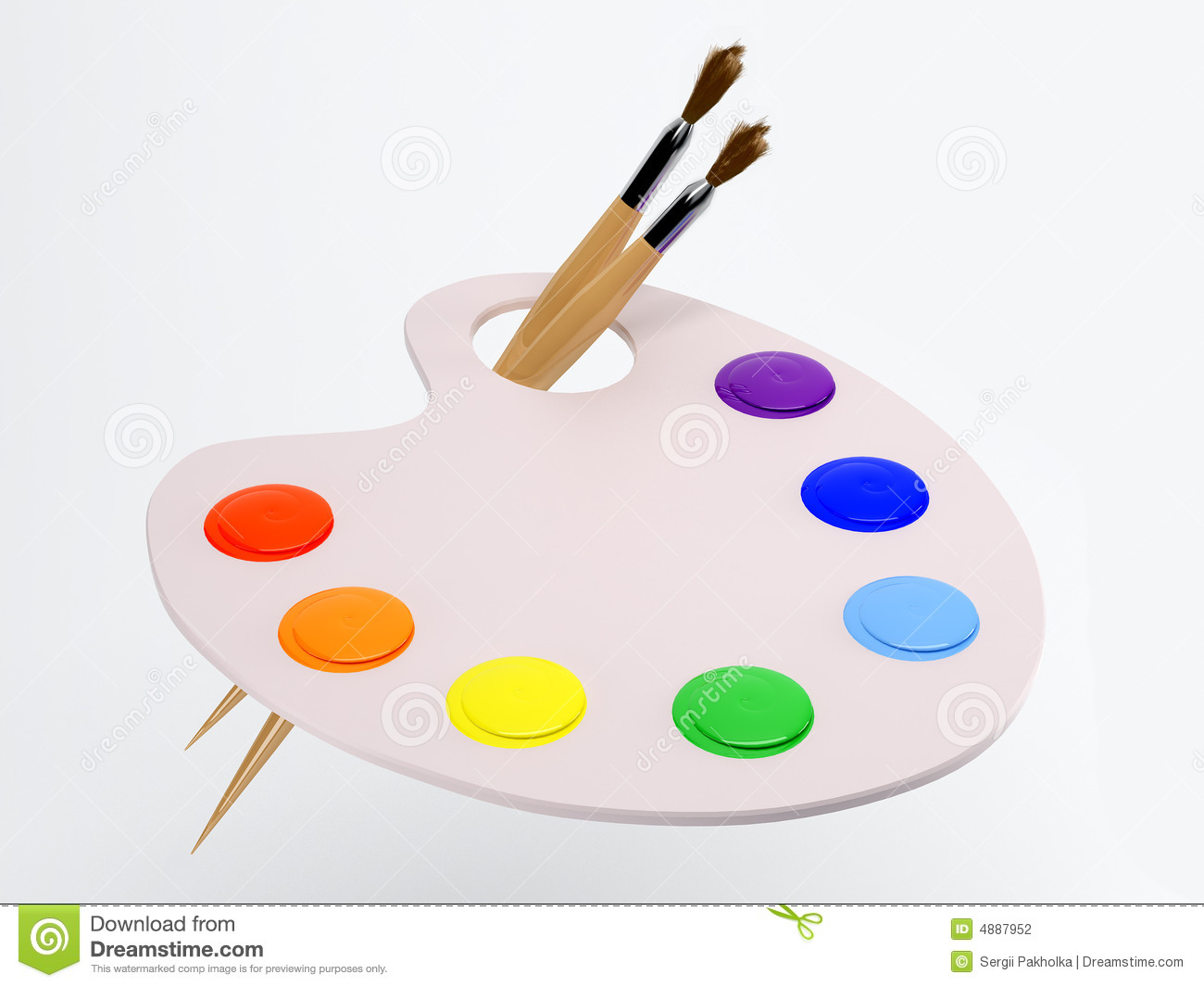 The Palette With Paintbrush And Paint Stock Illustration