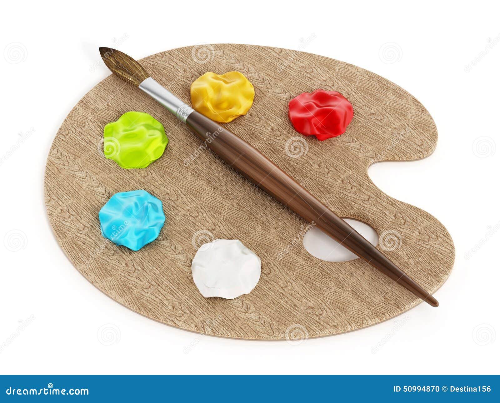 Palette peintures et pinceau sur l 39 ordinateur portable for Peinture palette