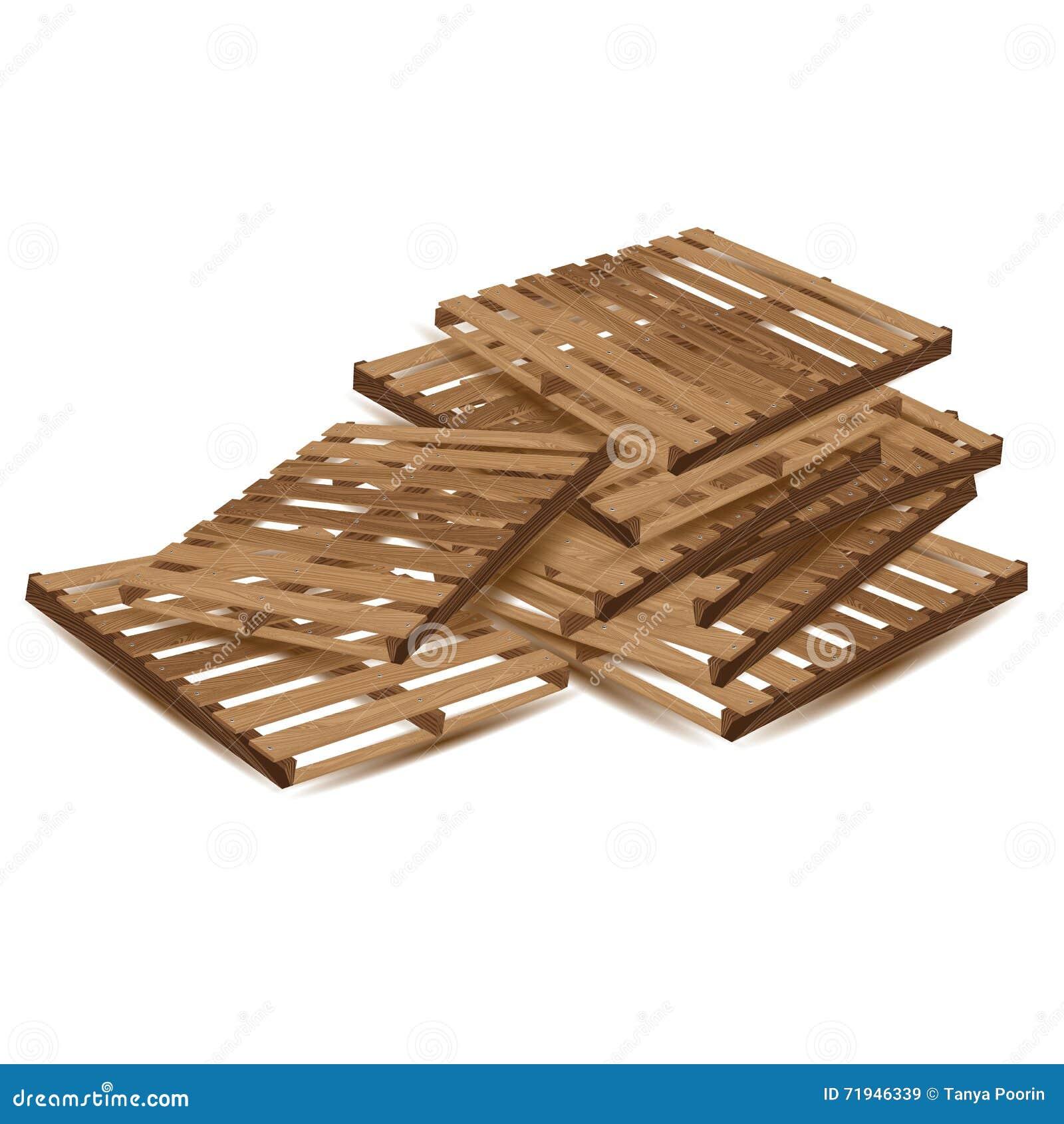 Palettes en bois à transporter et transport de fret d isolement sur le fond blanc Palettes en bois dans la perspective