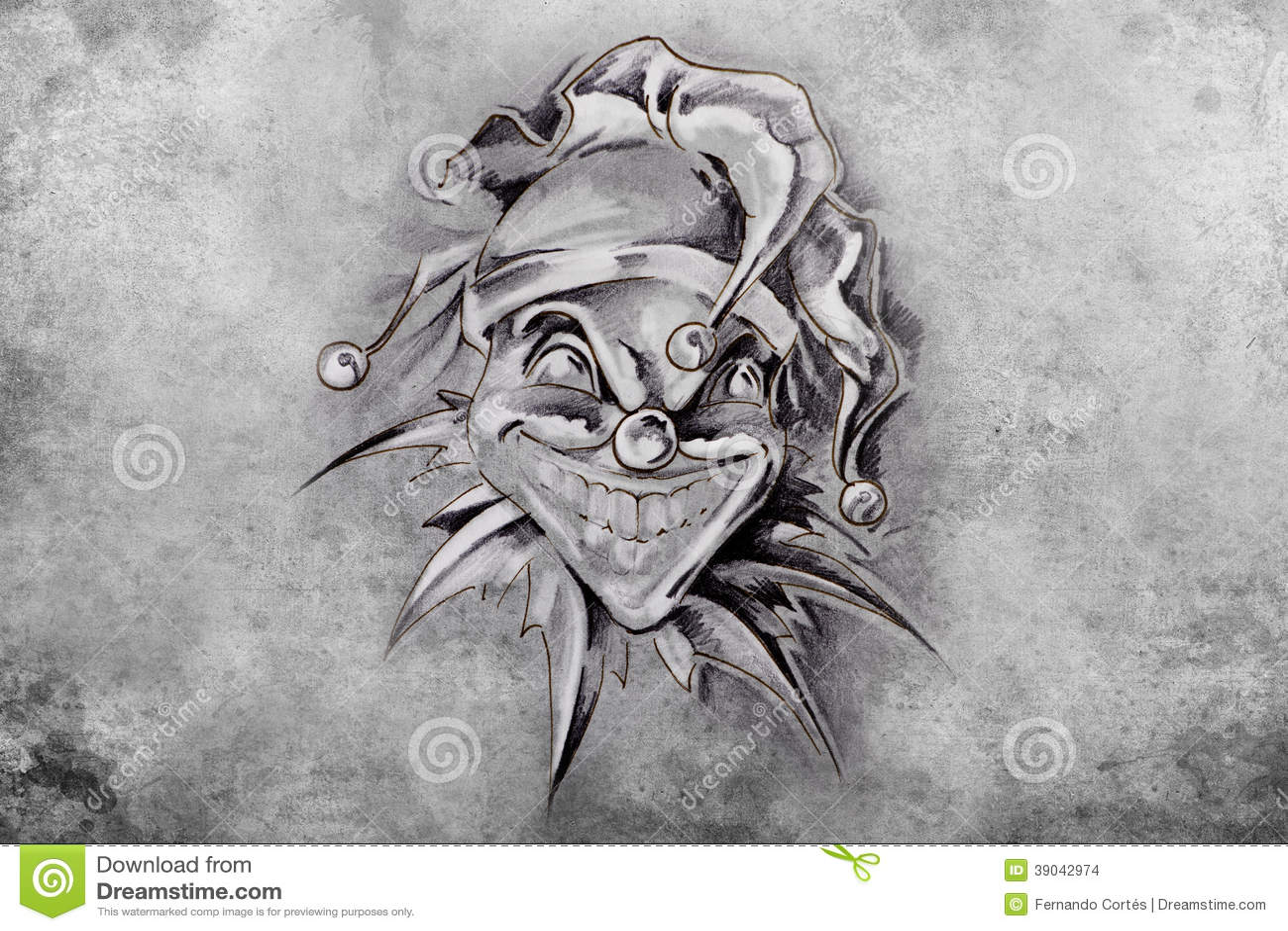 Desenho Palhaço Tatuagem palhaço da tatuagem, ilustração, feito a mão ilustração