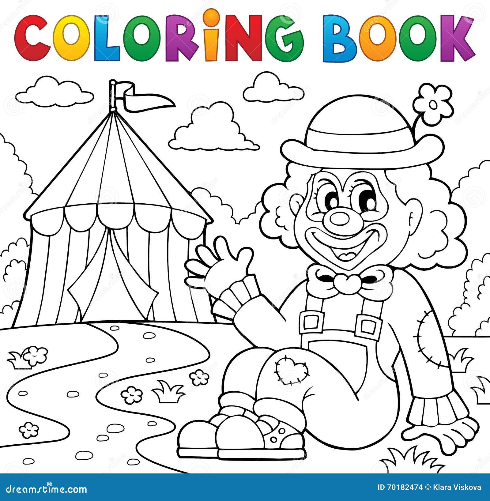 Palhaço Do Livro Para Colorir Perto Do Tema 2 Do Circo