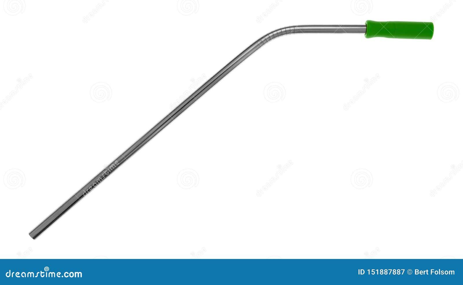 Palha de aço inoxidável do metal com uma ponta verde da palha do silicone em um fundo branco