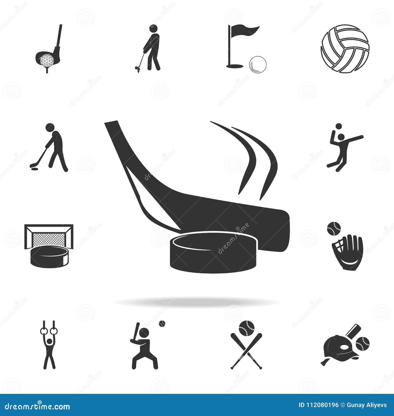 Palillo de hockey e icono de la lavadora Sistema detallado de iconos de los atletas y de los accesorios Diseño gráfico de la cali
