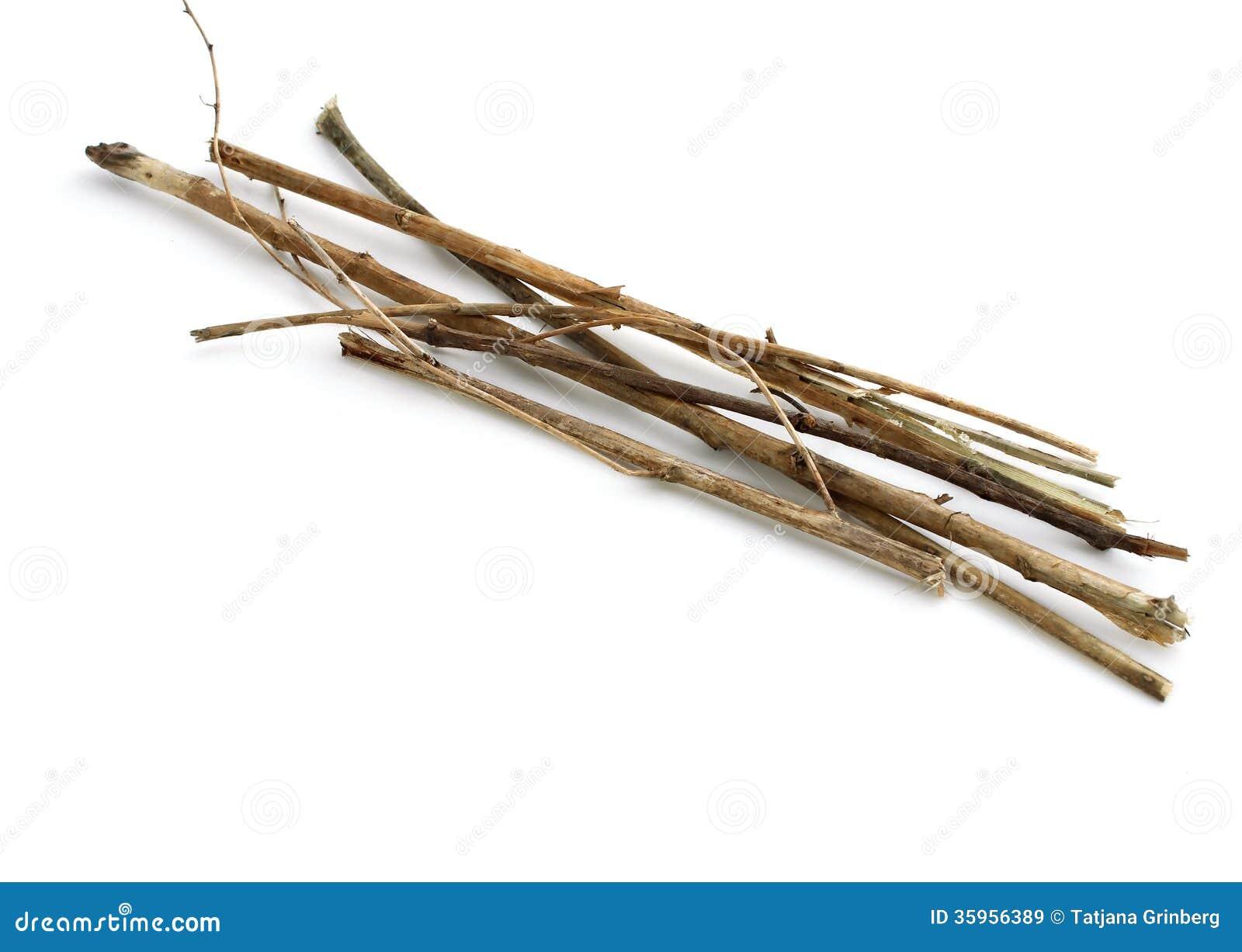 Palillos y ramitas, paquete de madera en blanco
