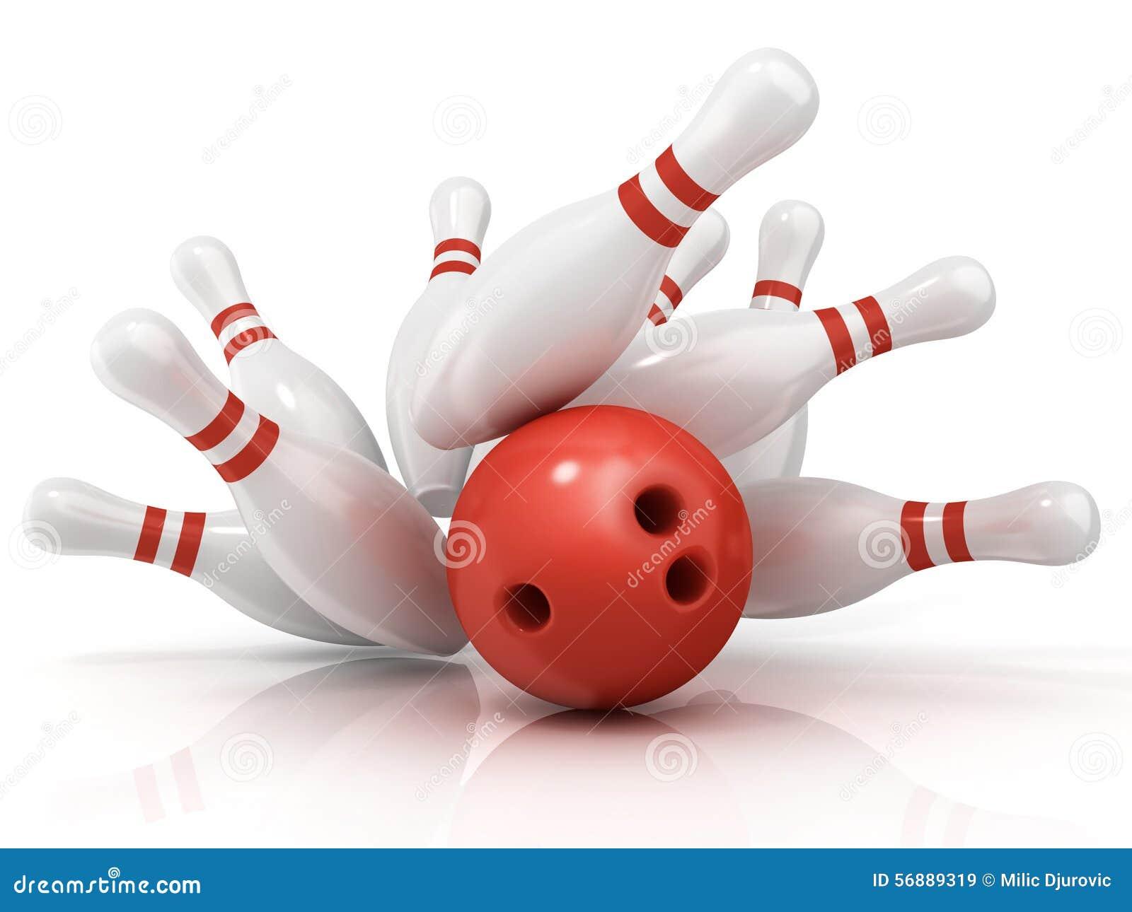 Palla da bowling rossa e perno sparso